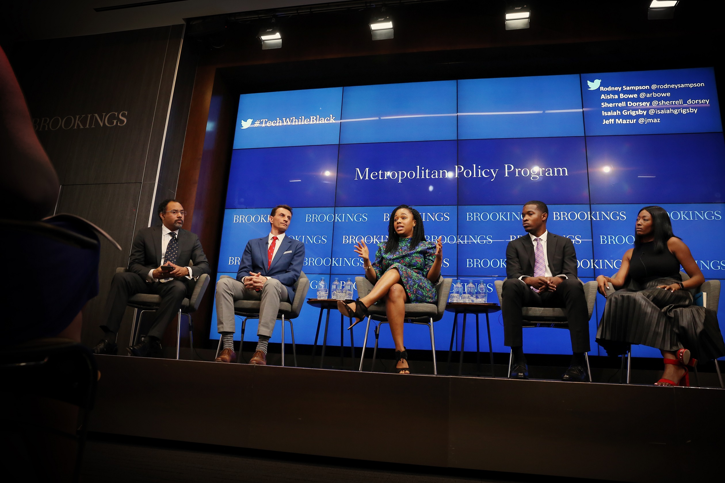 Brookings Metropolitan Policy Programs hosts 'Advancing opportunity for black collegians in tech and business' Friday, May 4, 2018 in Washington with moderator Andre M. Perry, the David M. Rubenstein Fellow; Rodney Sampson, Chairman and Chief Executive Officer of Opportunity Hub; Mark Muro, Senior Fellow and Policy Director; Aisha Bowe, Co-Founder and Chief Executive Officer of STEMBoard; Sherrell Dorsey, founder of ThePLUGDaily.com; Isaiah Grigsby, Senior at Clark Atlanta University OHUB@ Campus Chapter Developer; Jeff Mazur, Executive Director of LaunchCode; Tiffany Bussey, Founding Director of Morehouse College Enterpreneurship Center Lead - Ascend2020 Atlanta; Chanelle Hardy, Strategic Outreach and Public Policy Partnerships at Google; Ronald Mason, University of the District of Columbia President; Chad Womack, National Director for STEM Initiatives at UNCF; and Nicol Turner-Lee. Fellow at Governance Studies, Center for Technology Innovation. (Sharon Farmer/sfphotoworks)