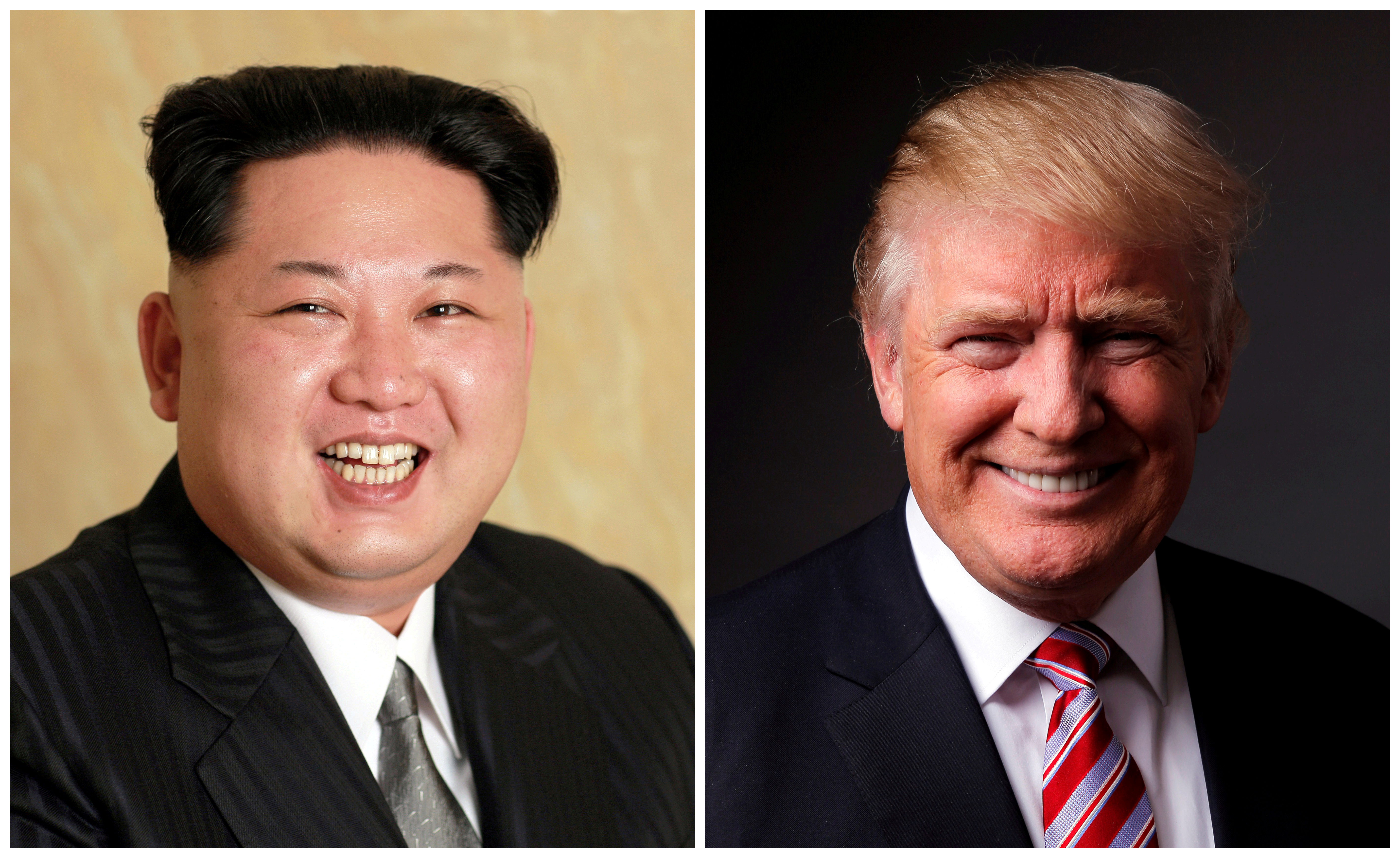 A combination photo shows a Korean Central News Agency (KCNA) handout of North Korean leader Kim Jong Un released on May 10, 2016, and Republican U.S. presidential candidate Donald Trump posing for a photo after an interview with Reuters in his office in Trump Tower, in the Manhattan borough of New York City, U.S., May 17, 2016. REUTERS/KCNA handout via Reuters/File Photo & REUTERS/Lucas Jackson/File Photo ATTENTION EDITORS - THE KCNA IMAGE WAS PROVIDED BY A THIRD PARTY. EDITORIAL USE ONLY. REUTERS IS UNABLE TO INDEPENDENTLY VERIFY THIS IMAGE. NO THIRD PARTY SALES. NOT FOR USE BY REUTERS THIRD PARTY DISTRIBUTORS. SOUTH KOREA OUT. NO COMMERCIAL OR EDITORIAL SALES IN SOUTH KOREA. - S1BETHIZBJAA