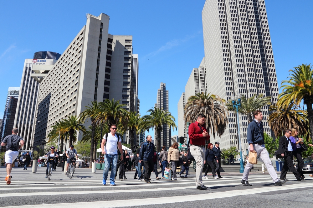 People walking in downtown San Francisco