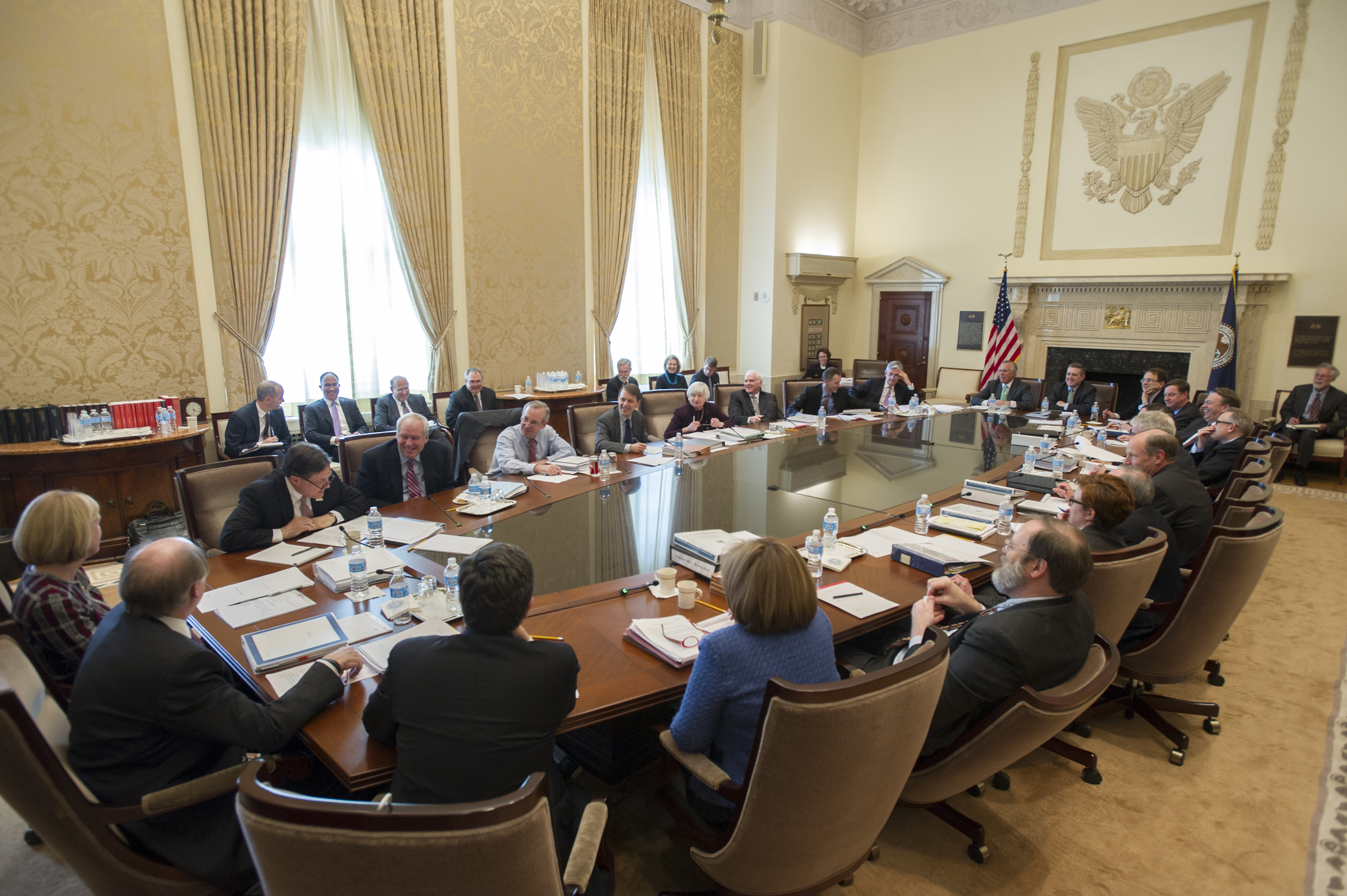 Federal Open Market Committee (FOMC) participants gather at the Marriner S. Eccles Building in Washington, D.C., for a two-day meeting held on March 18-19, 2014.
