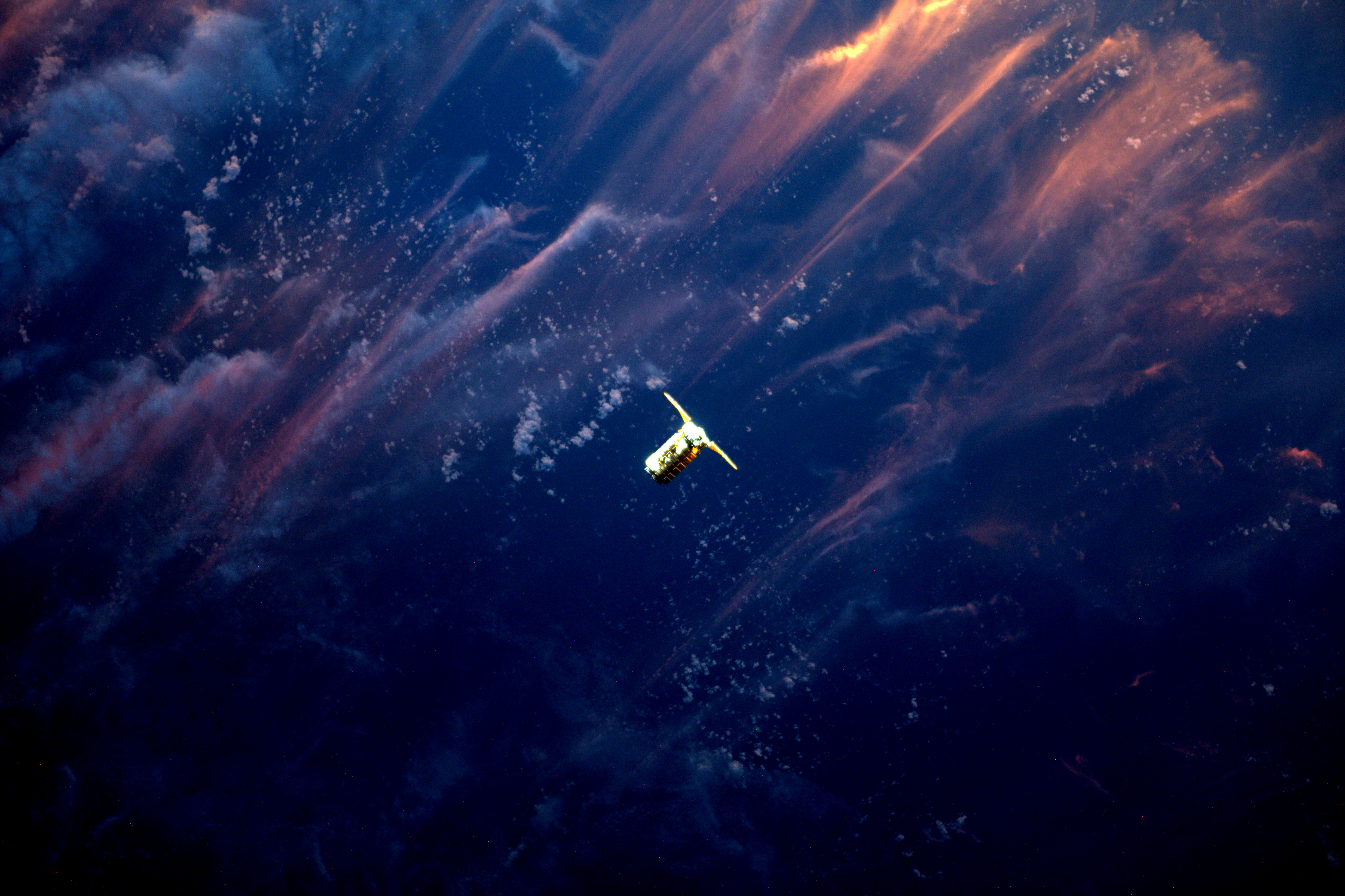 Expedition 51 Flight Engineer Thomas Pesquet of the European Space Agency photographed Orbital ATK's Cygnus spacecraft as it approached the International Space Station, April 22, 2017. Using the station's robotic Canadarm2, Cygnus was successfully captured by Pesquet and Commander Peggy Whitson at 6:05 a.m. EDT. The spacecraft's arrival brought more than 7,600 pounds of research and supplies to support Expedition 51 and 52.  NASA/ESA/Handout via REUTERS  ATTENTION EDITORS - THIS IMAGE WAS PROVIDED BY A THIRD PARTY - RC1C0F04C520
