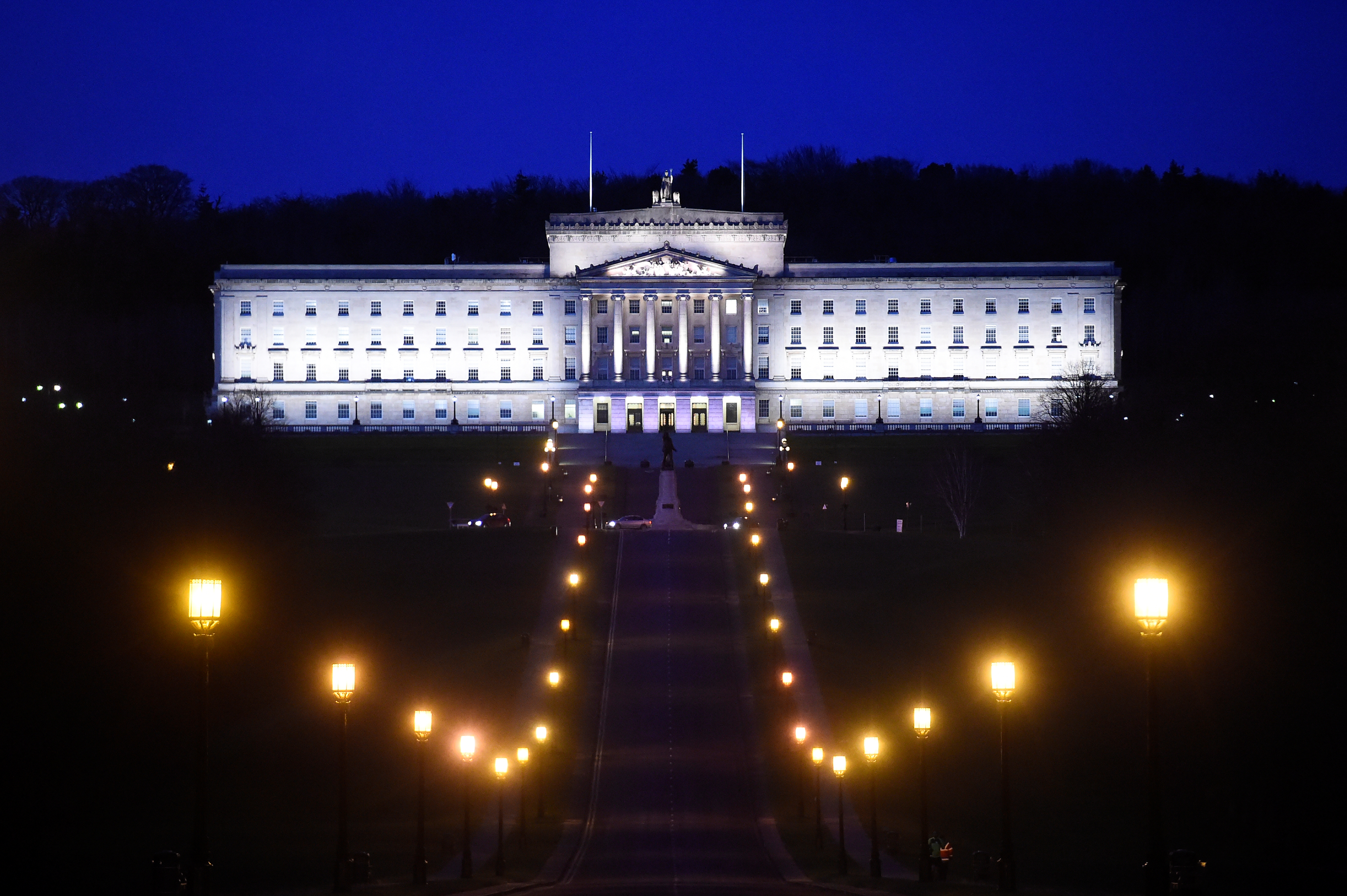 Parliament buildings at Stormont is seen at night in Belfast, Northern Ireland February 15, 2018. REUTERS/Clodagh Kilcoyne - RC165C1960E0