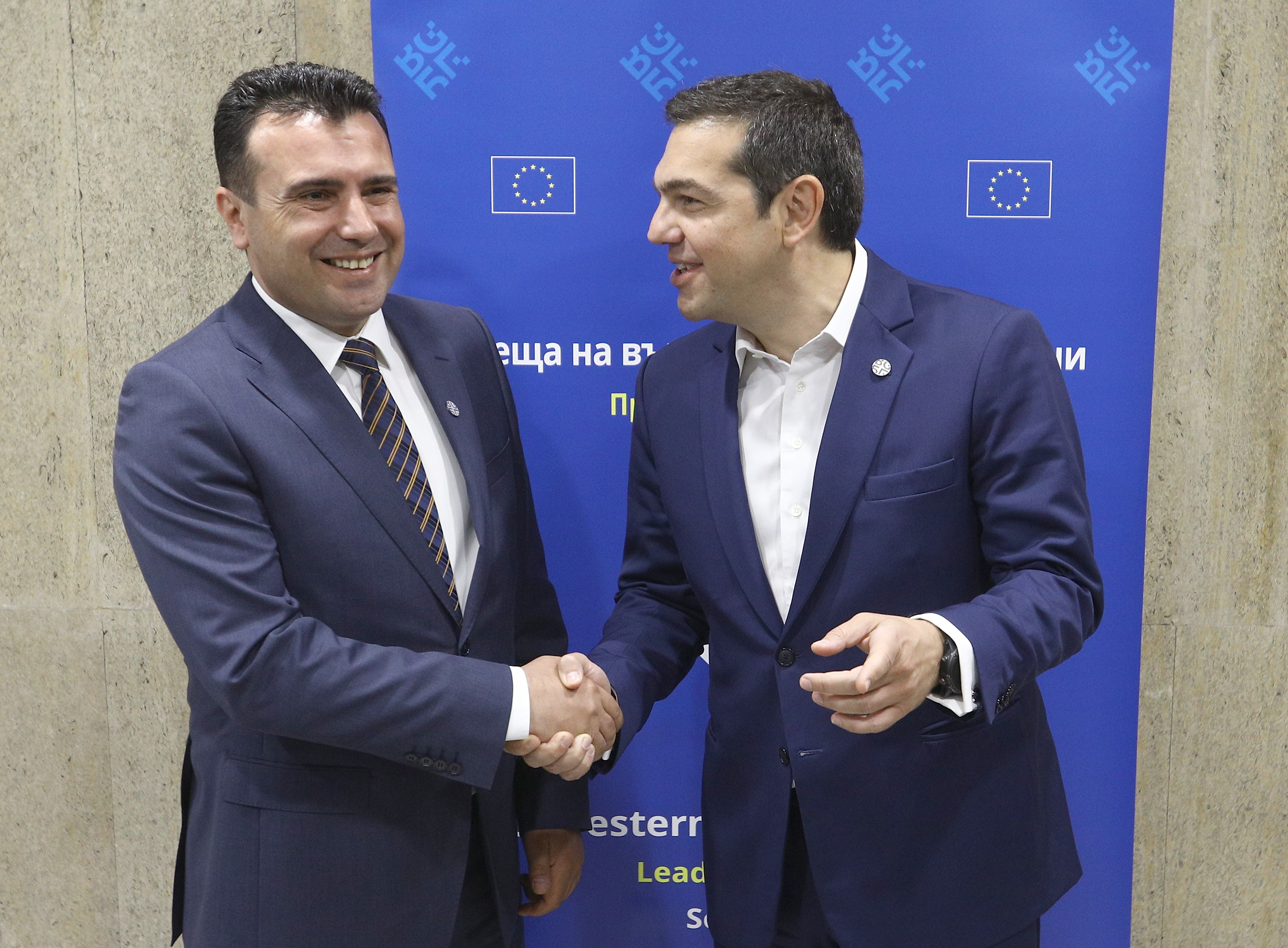 Greek Prime Minister Alexis Tsipras meets with Macedonian Prime Minister Zoran Zaev at the EU-Western Balkans Summit in Sofia, Bulgaria, May 17, 2018. REUTERS/Stoyan Nenov - UP1EE5H0MEVGG