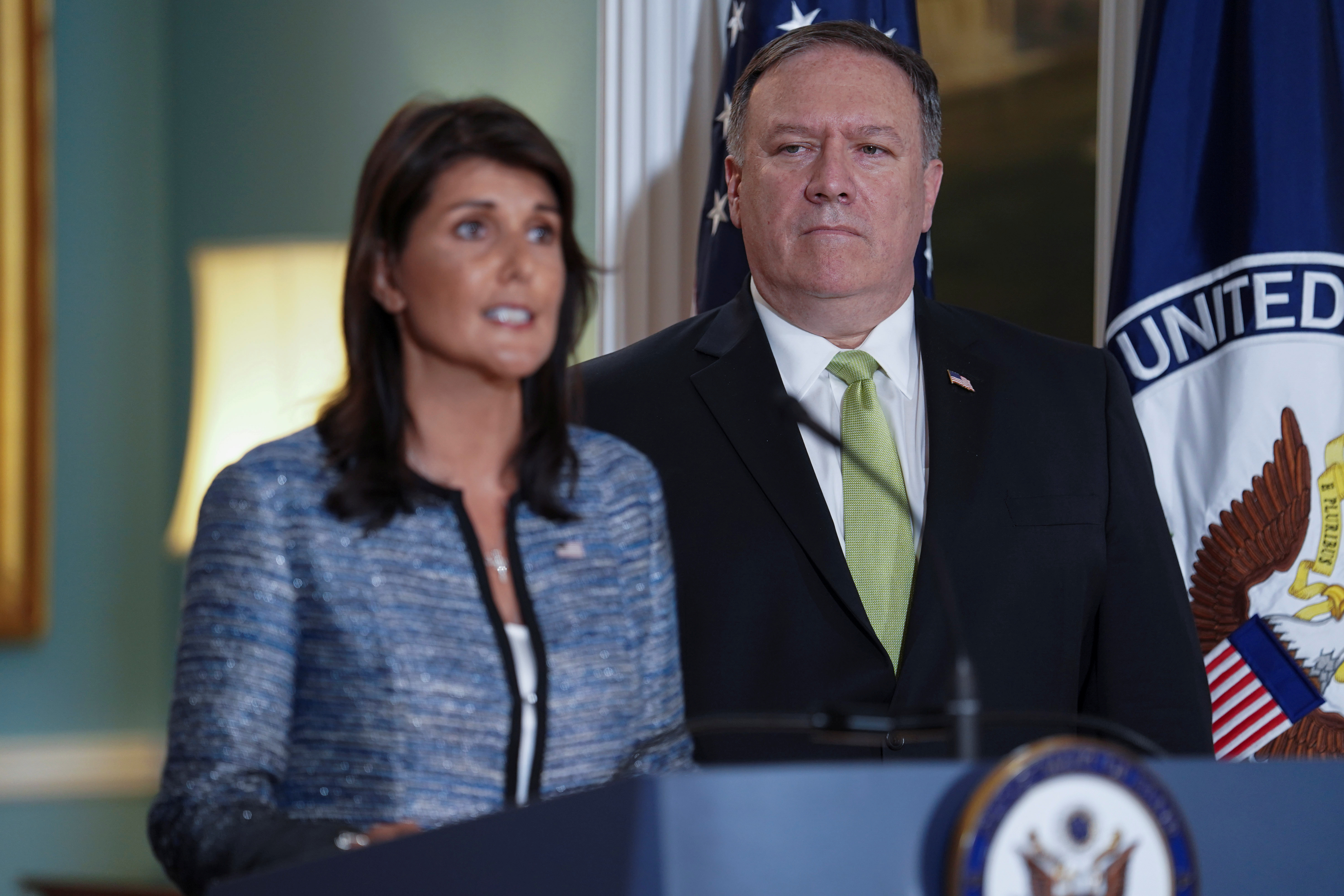 U.S. Ambassador to the United Nations Nikki Haley delivers remarks to the press together with U.S. Secretary of State Mike Pompeo, announcing the U.S.'s withdrawal from the U.N's Human Rights Council at the Department of State in Washington, U.S., June 19, 2018. REUTERS/Toya Sarno Jordan - RC13BD79BC40