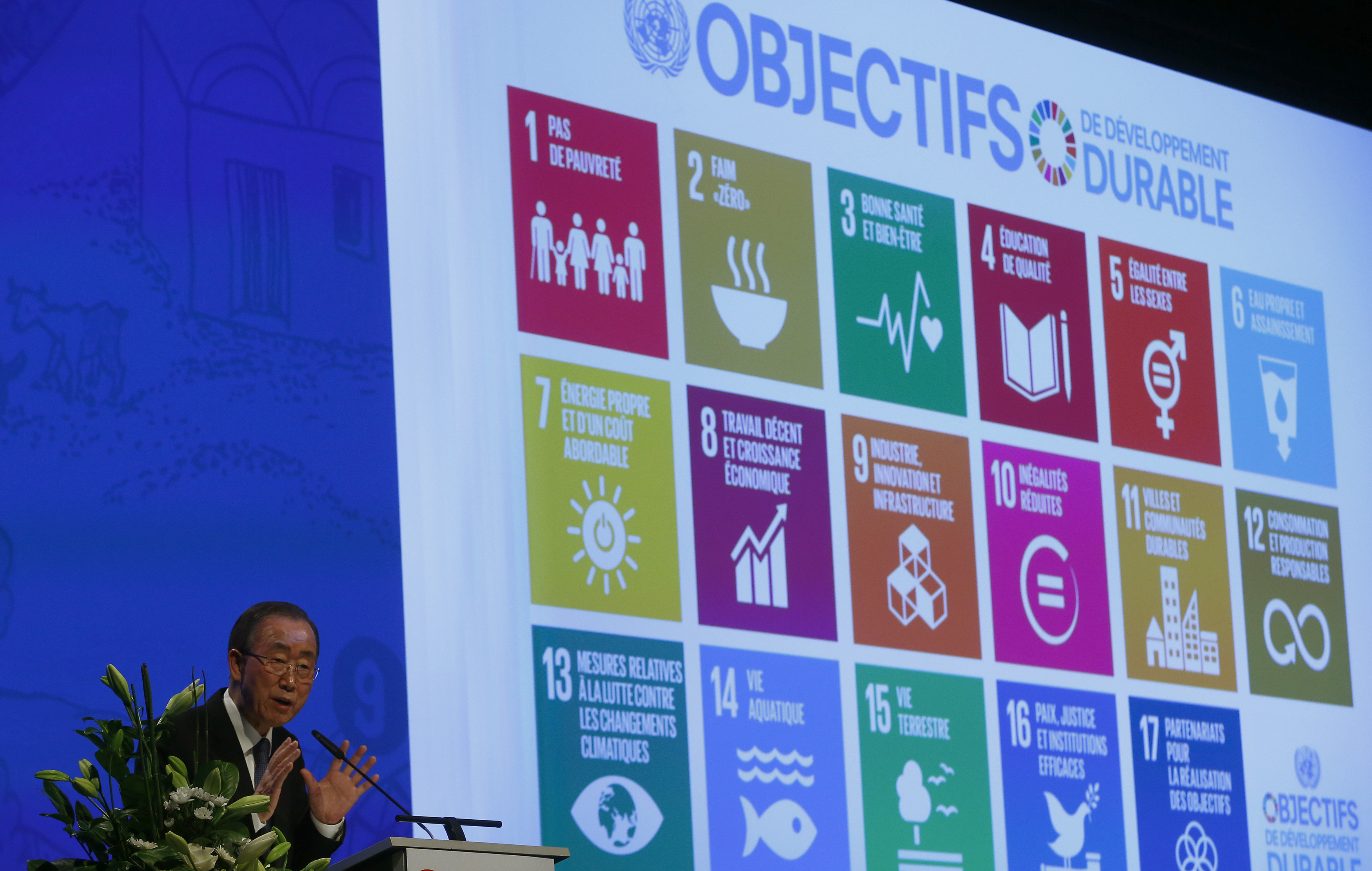 United Nations Secretary-General Ban Ki-Moon addresses the Annual Conference of Swiss Developement Cooperation in Zurich, Switzerland January 22, 2016. On the screen behind are displayed the 17 goals of UN's 2030 Agenda for Sustainable Development.    REUTERS/Arnd Wiegmann - LR1EC1M141E1G