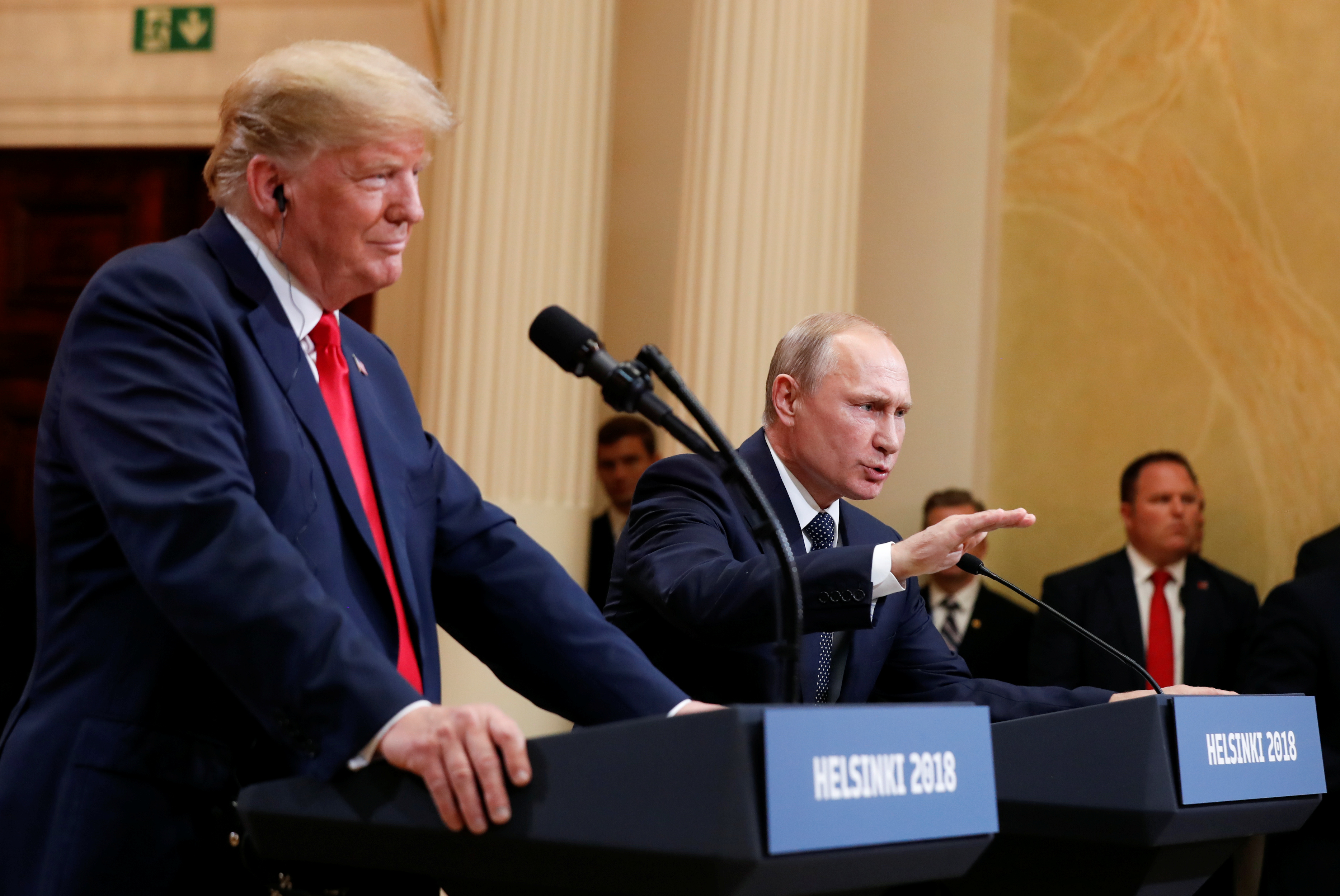Russia's President Vladimir Putin gestures during a joint news conference with U.S. President Donald Trump after their meeting in Helsinki, Finland, July 16, 2018. REUTERS/Kevin Lamarque - RC1308EDF9C0