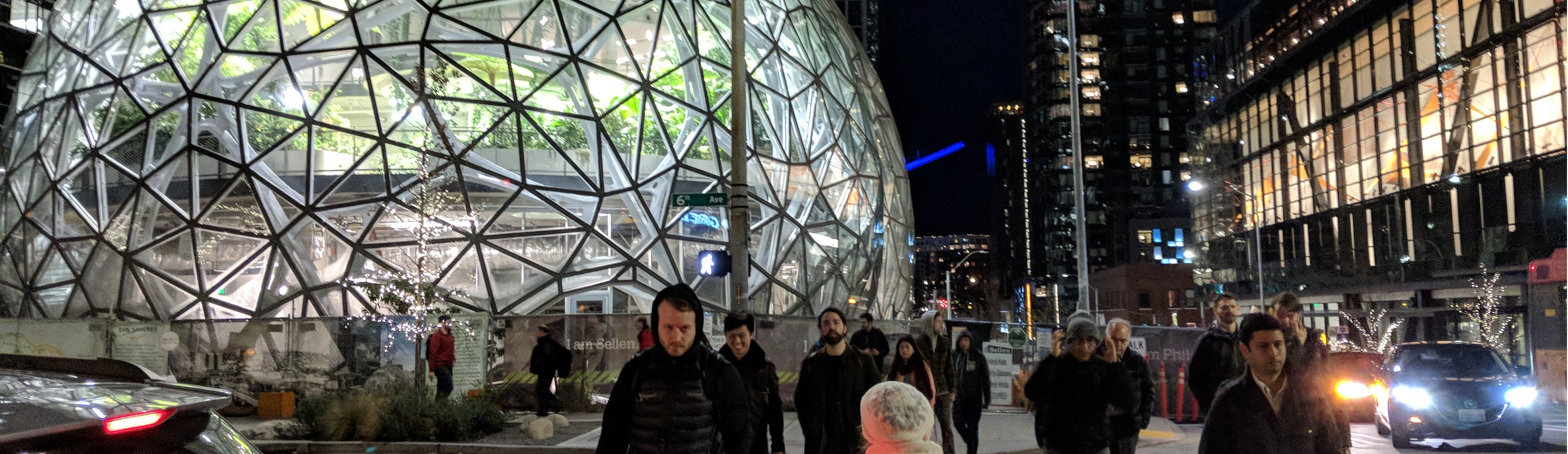Amazon headquarters at night