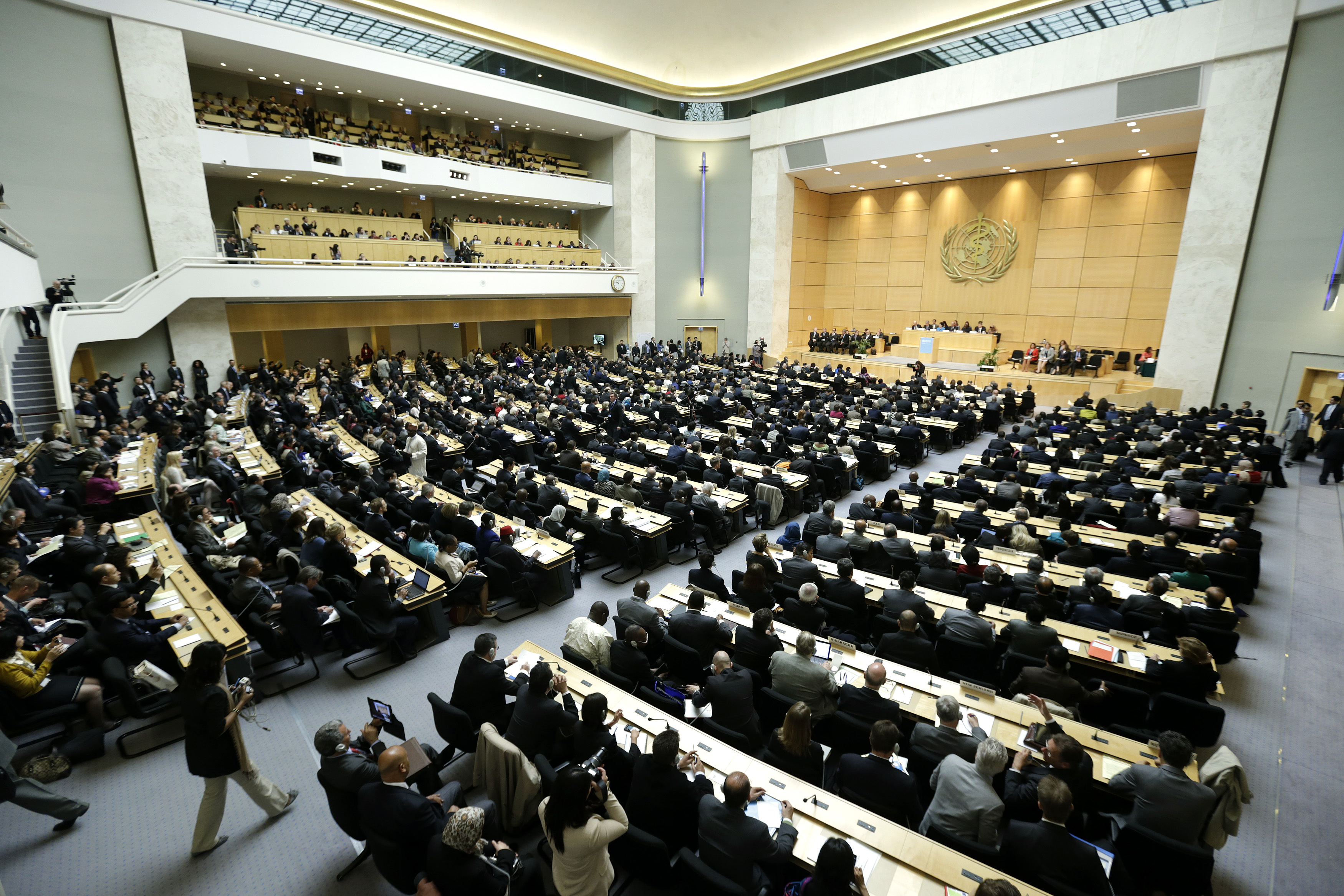 A general view of the 66th World Health Assembly at the United Nations European headquarters in Geneva May 20, 2013. The World Health Assembly is the annual meeting of the World Health Organization's (WHO) 194 Member States and is its highest decision-making body. This year marks the 66th World Health Assembly