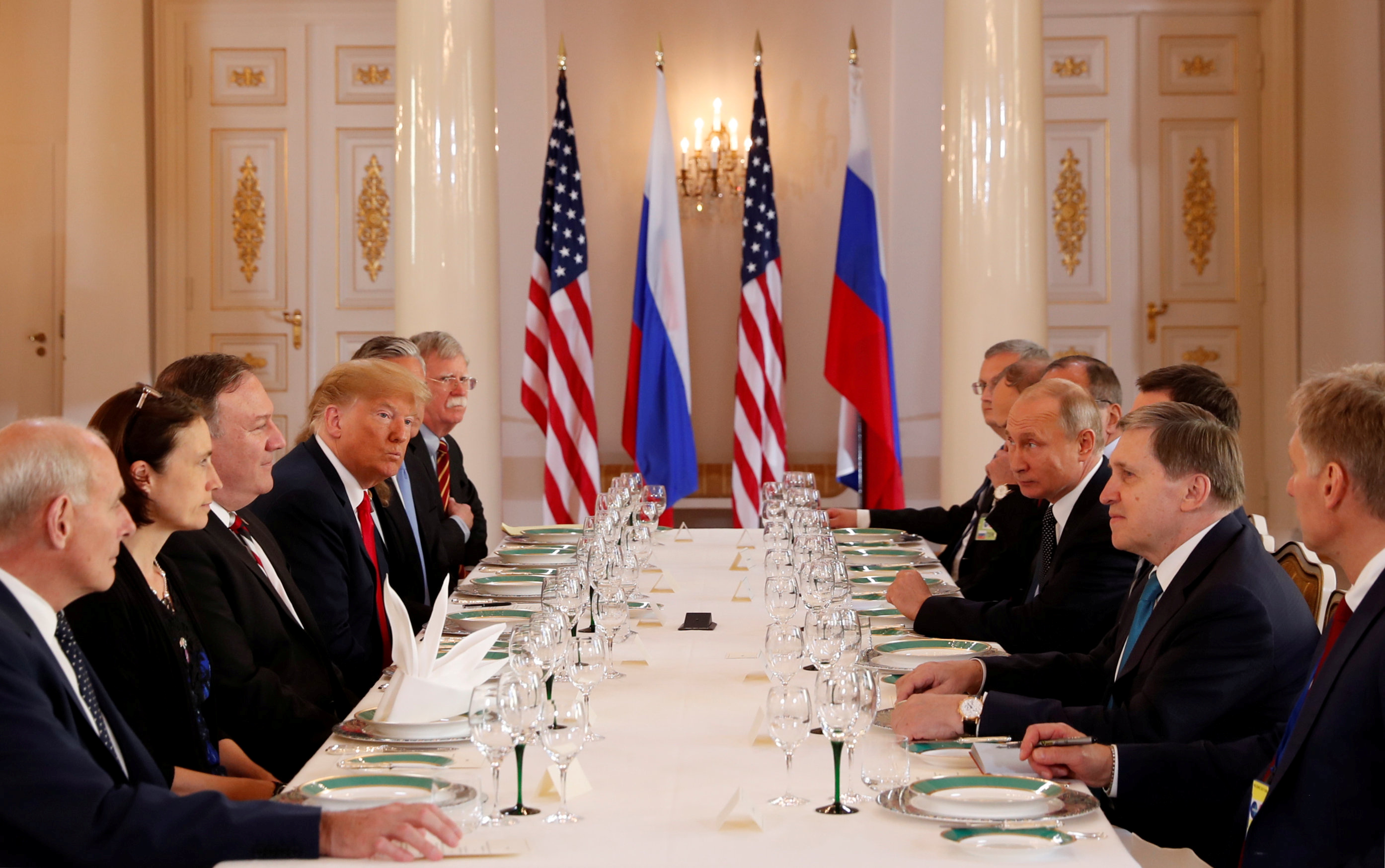 U.S. President Donald Trump participates in an expanded bilateral meeting with Russia's President Vladimir Putin in Helsinki, Finland, July 16, 2018. REUTERS/Kevin Lamarque     TPX IMAGES OF THE DAY - RC1497F0B200