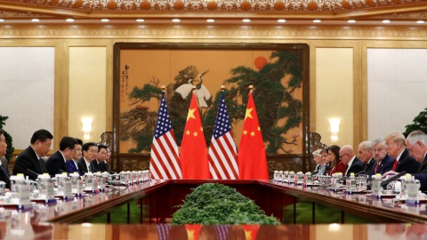 U.S. President Donald Trump and China's President Xi Jinping hold bilateral meetings at the Great Hall of the People in Beijing, China, November 9, 2017. REUTERS/Jonathan Ernst - RC1397DFDA50