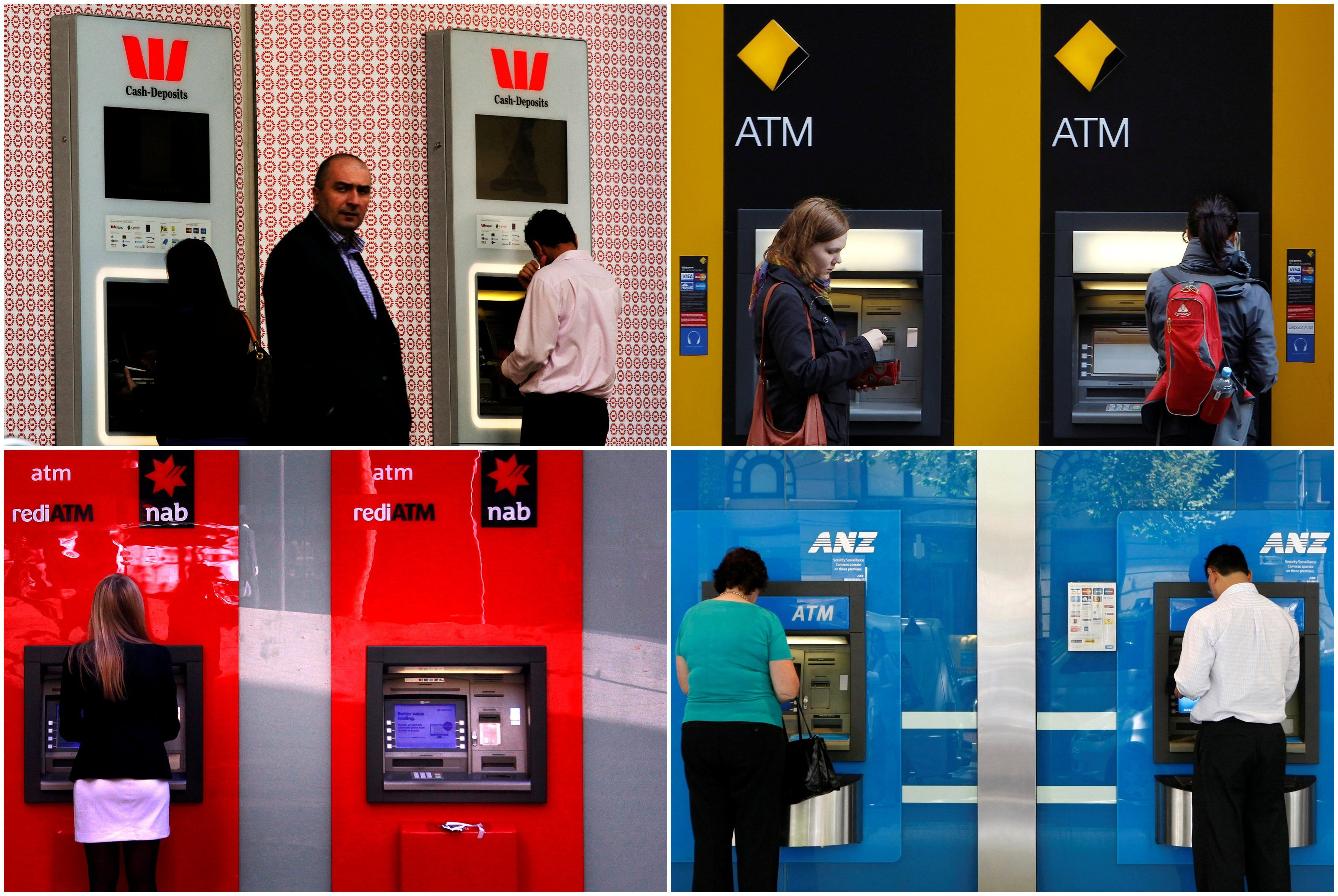 "FILE PHOTO - A combination of photographs shows people using automated teller machines (ATMs) at Australia's ""Big Four"" banks - Australia and New Zealand Banking Group Ltd (bottom R), Commonwealth Bank of Australia (top R), National Australia Bank Ltd (bottom L) and Westpac Banking Corp (top L).    REUTERS/Staff/File photo - RC1D46C35580"