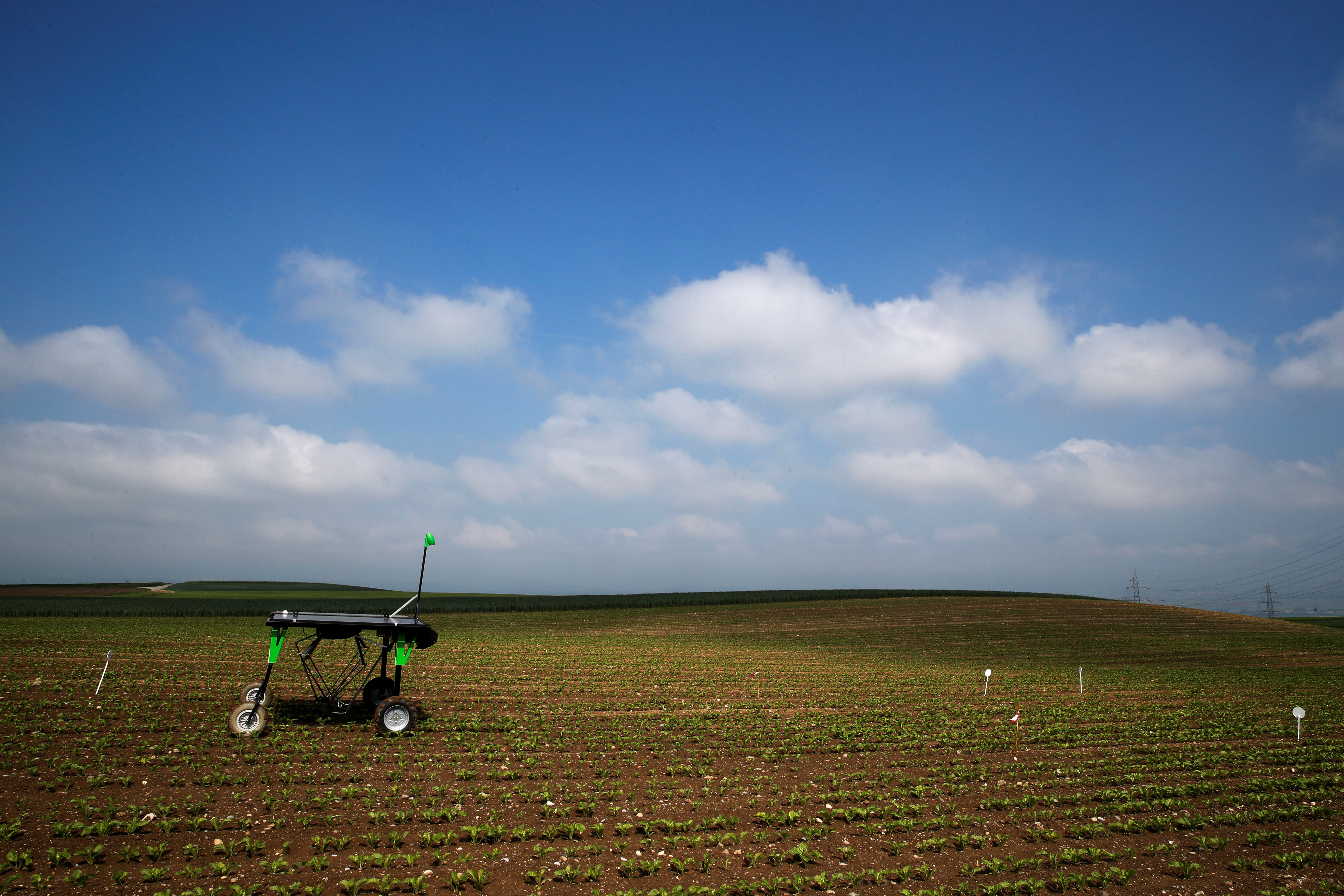 The prototype of an autonomous weeding machine by Swiss start-up ecoRobotix is pictured during tests on a sugar beet field near Bavois, Switzerland May 18, 2018. Picture taken May, 18, 2018. REUTERS/Denis Balibouse - RC18908CB500