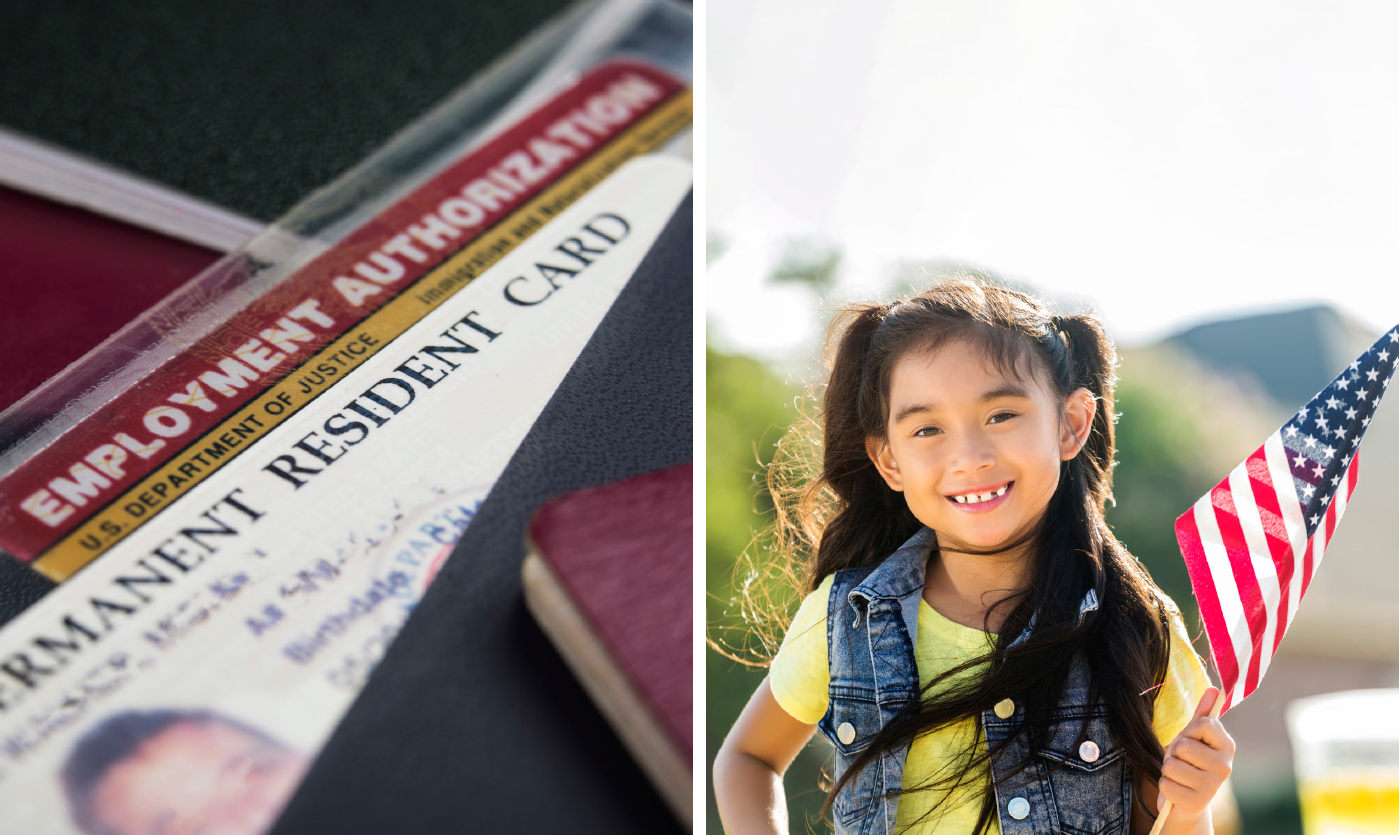 permanent resident card and little girl holding an american flag