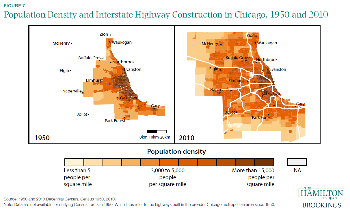 Population Density and Interstate Highway Construction in Chicago, 1950 and 2010