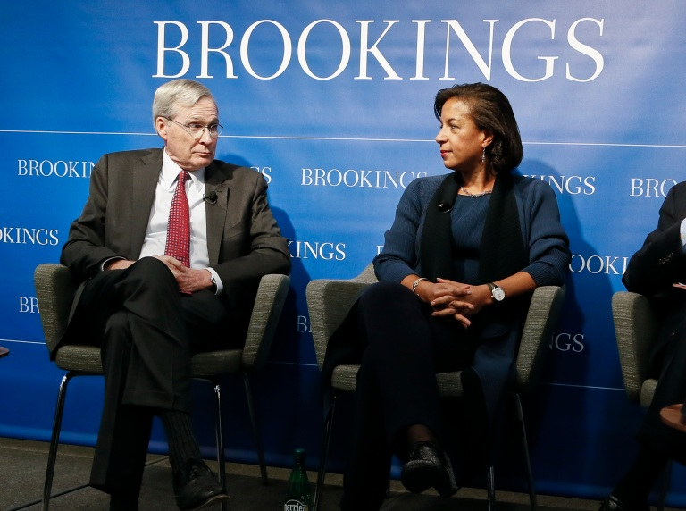 "Former National Security Advisors Stephen Hadley and Susan Rice participate in a ""fireside conversation"" on U.S.-China relations at the Brookings Institution on October 30, 2018."