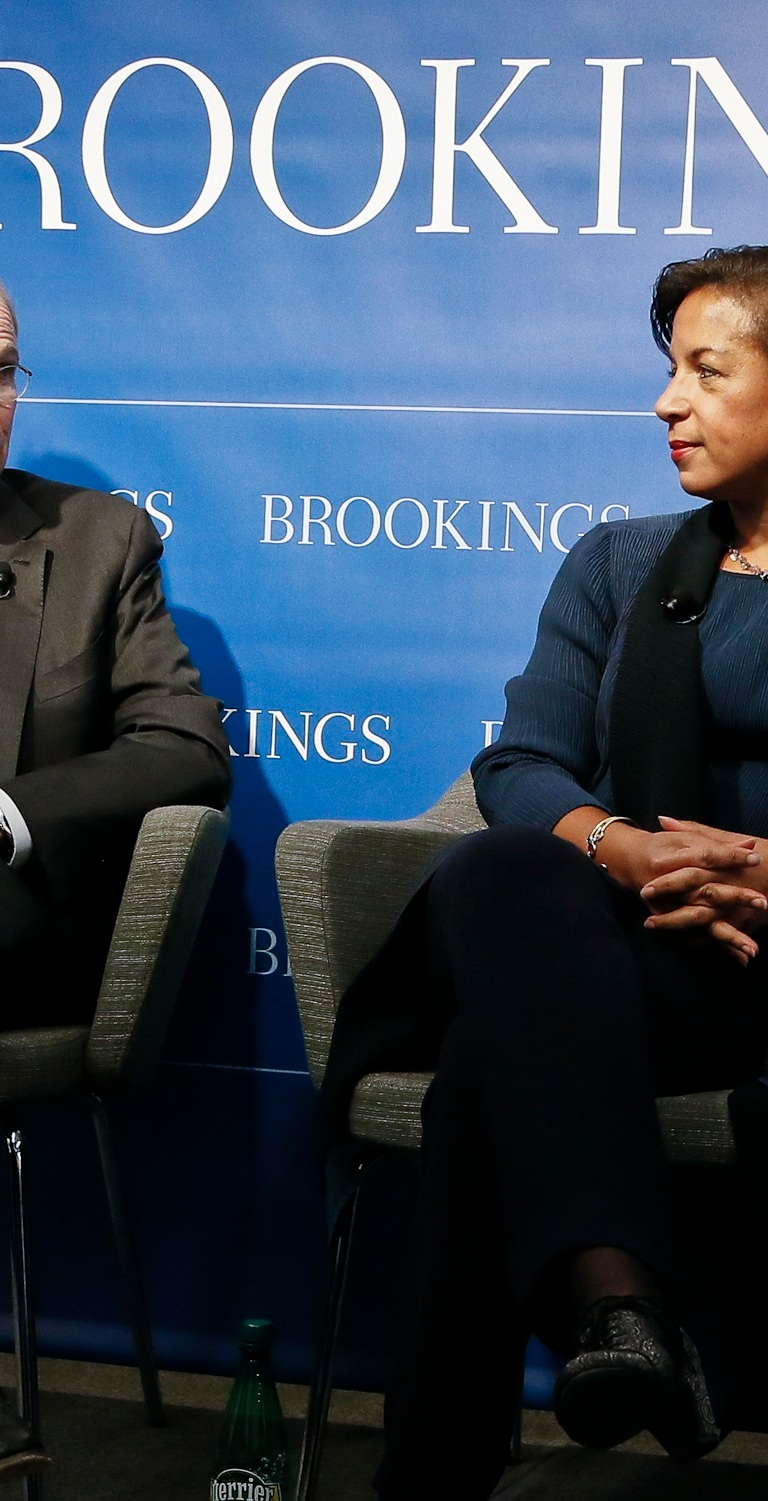 """Former National Security Advisors Stephen Hadley and Susan Rice participate in a """"fireside conversation"""" on U.S.-China relations at the Brookings Institution on October 30, 2018."""