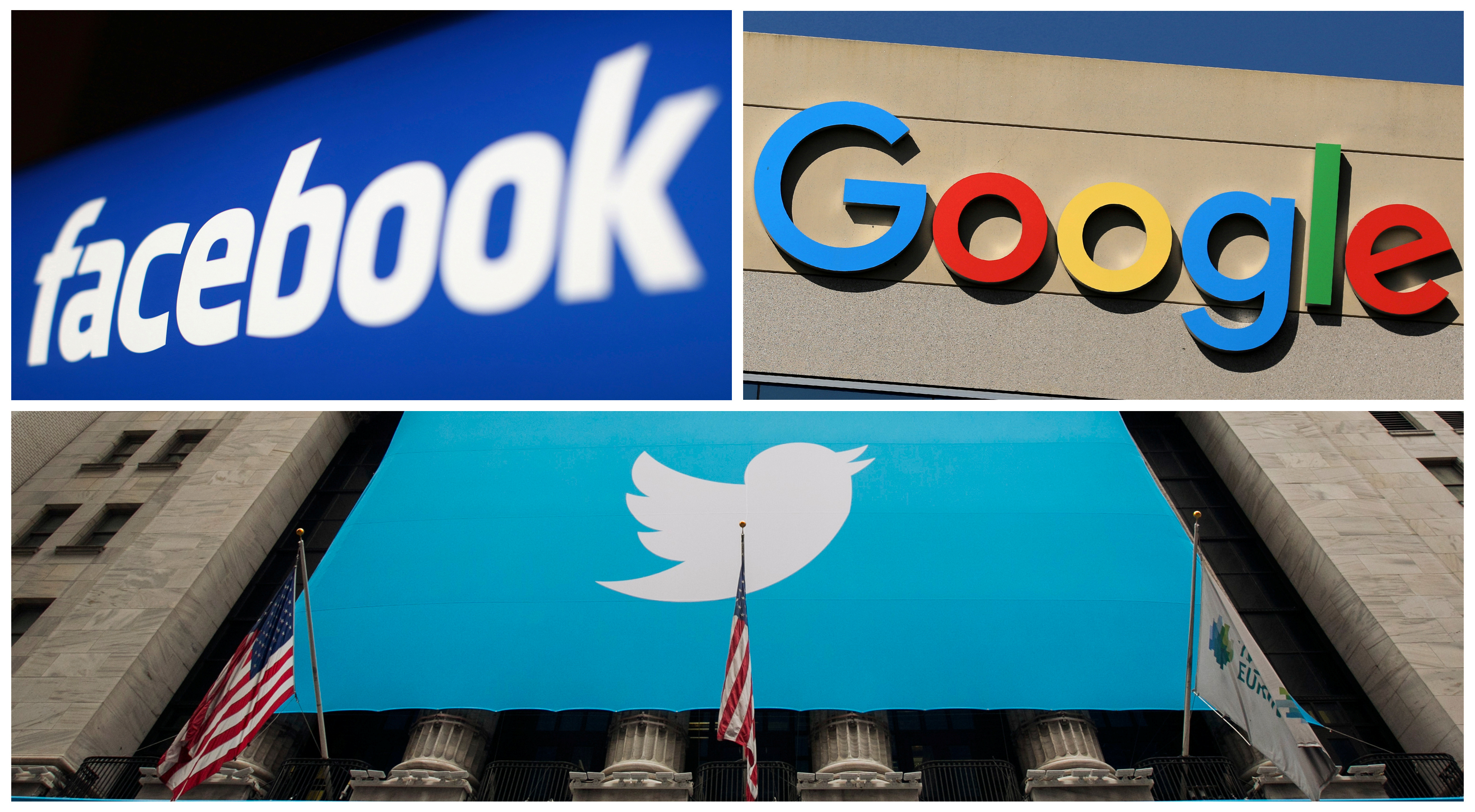 Facebook, Google and Twitter logos are seen in this combination photo from Reuters files. REUTERS/File Photos - RC1A2AC56CF0