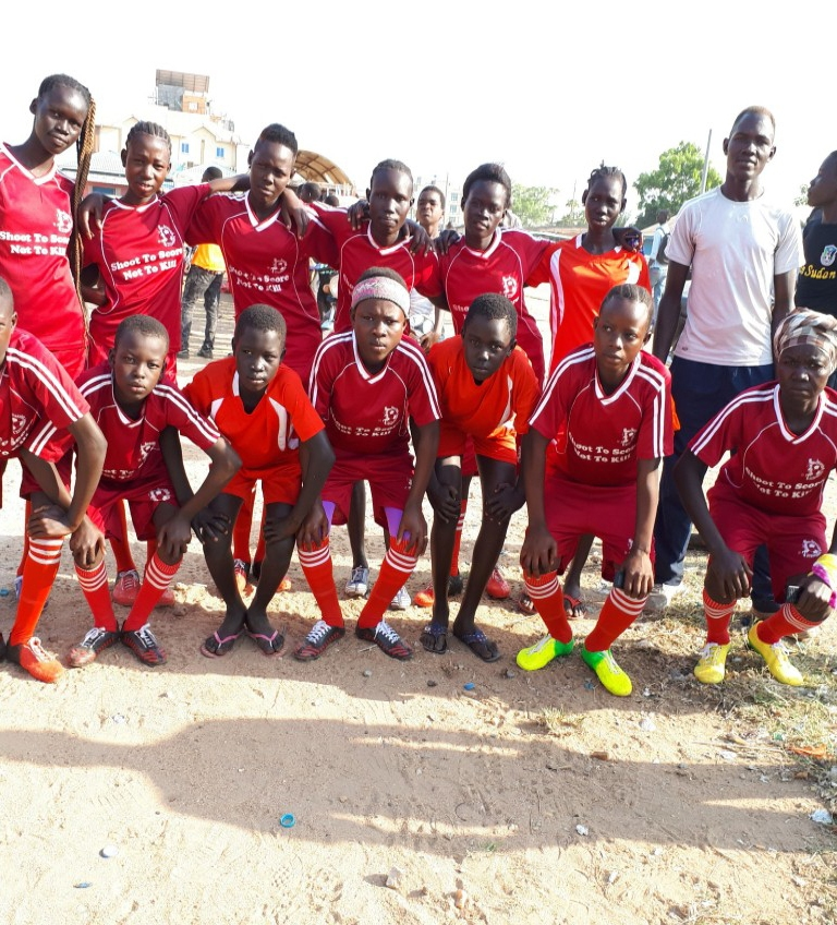 Girls soccer team in South Sudan