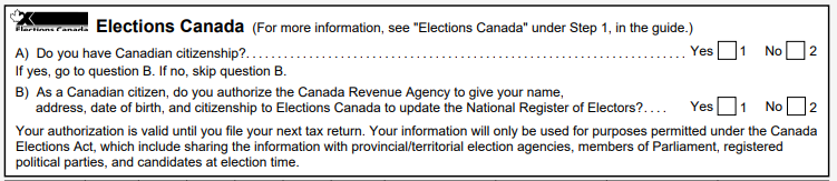 Canada Voter Registration on Tax Form
