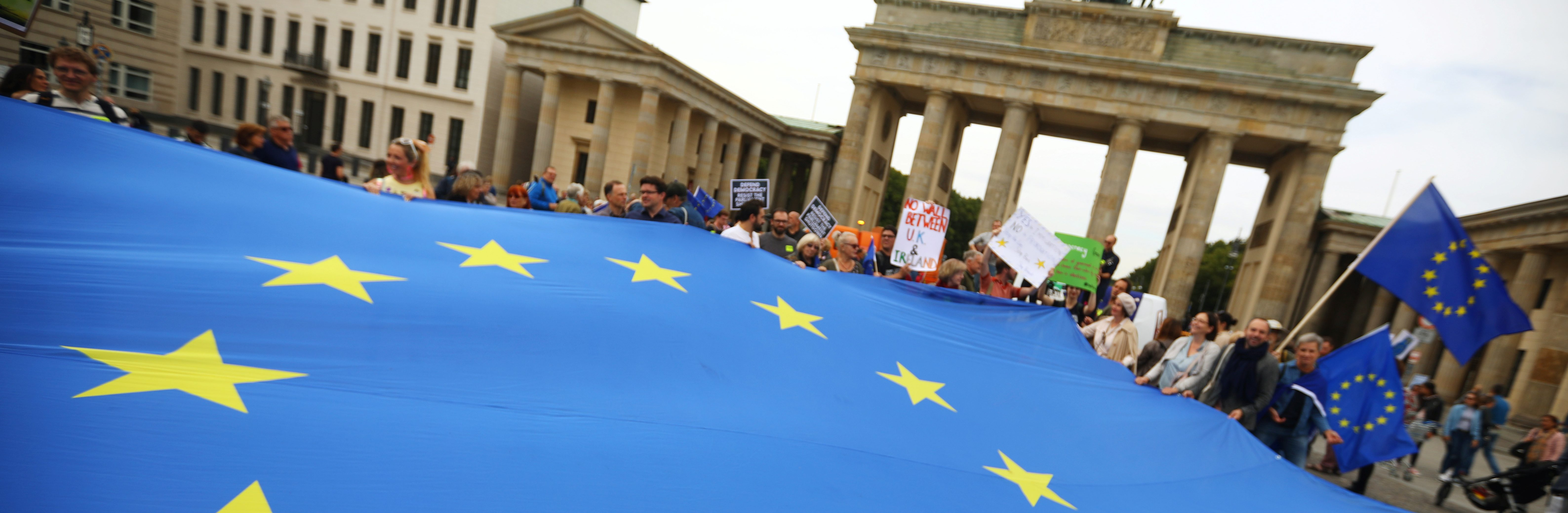 Protests in Berlin against U.K. Prime Minister Boris Johnson's Brexit-motivated suspension of the British Parliament, September 7, 2019. (Hannibal Hanschke/Reuters)