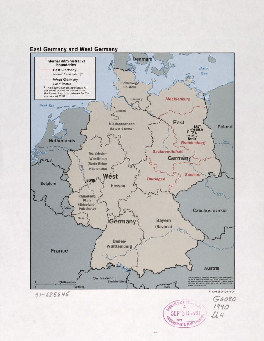 A pre-unification CIA map shows the division between East and West Germany. (Library of Congress)