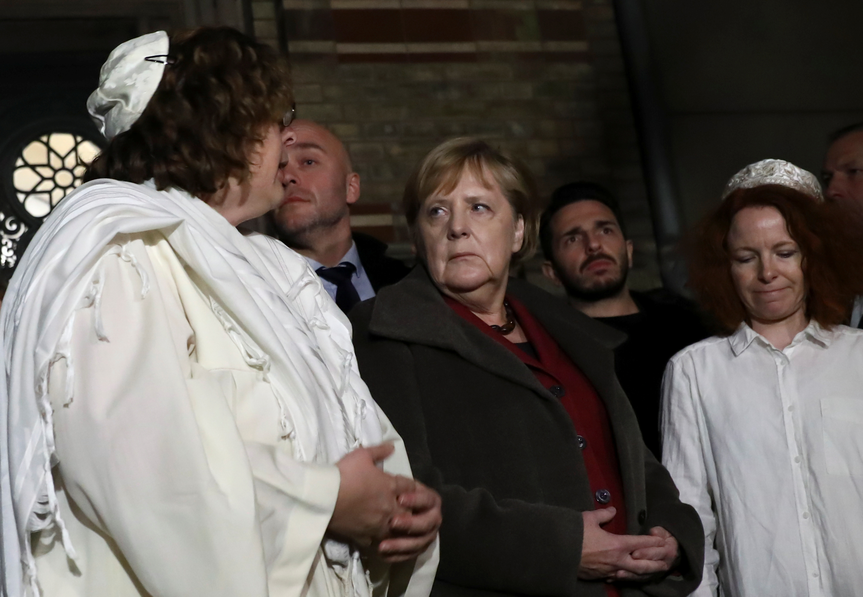 German Chancellor Angela Merkel visits Berlin's New Synagogue on October 9, 2019, after Halle synagogue shooting. (Christian Mang/Reuters)