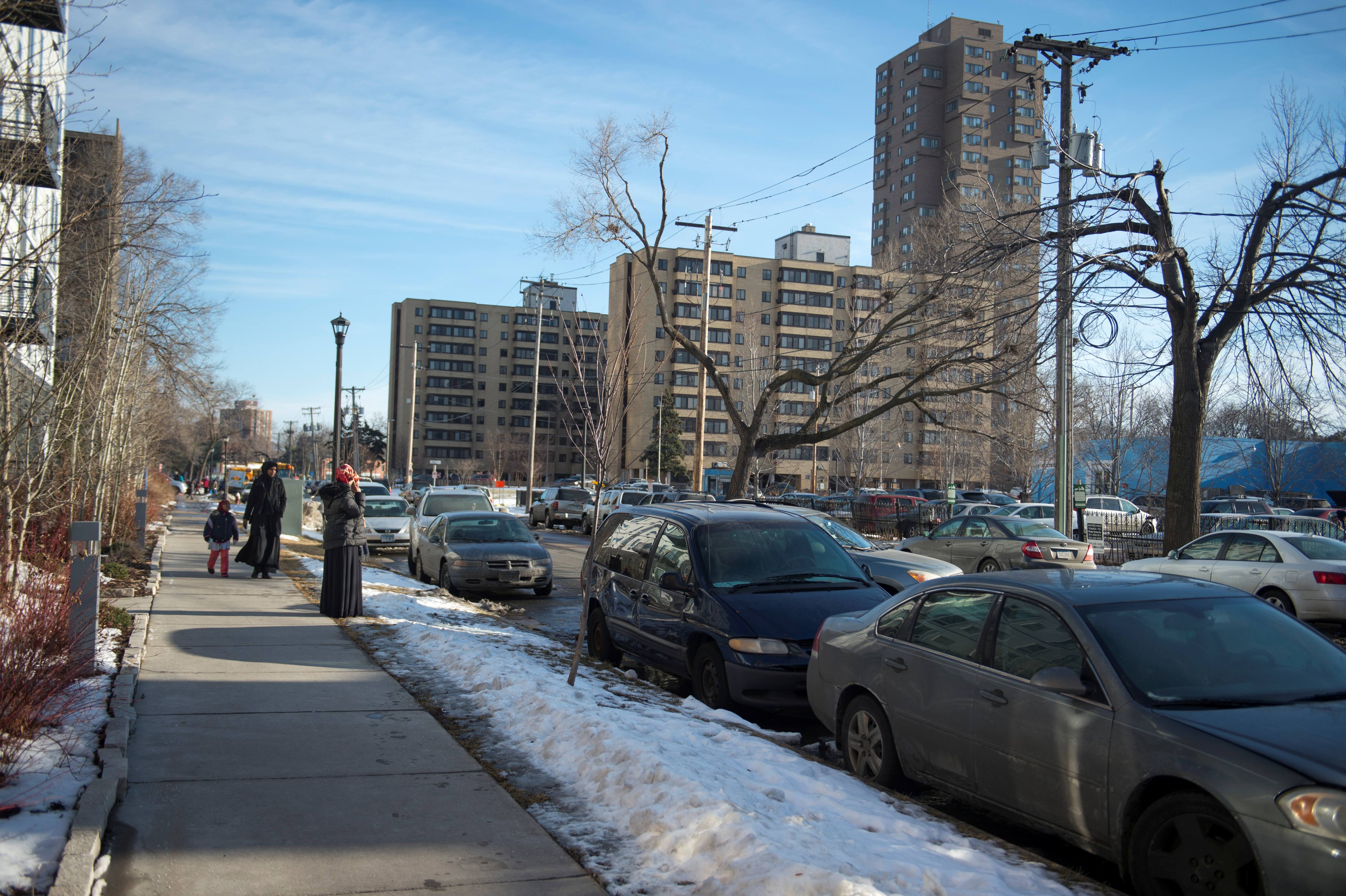 The Cedar-Riverside neighborhood is home to a large Somali population and is near US Bank Stadium, the site of the NFL's Super Bowl in Minneapolis, Minnesota, U.S. January 19, 2018. Picture taken January 19, 2018.  REUTERS/Craig Lassig - RC1FAAB77180