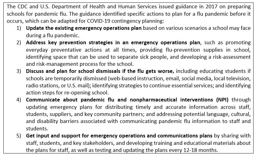 CDC and HHS guidance on preparing schools for the pandemic flu