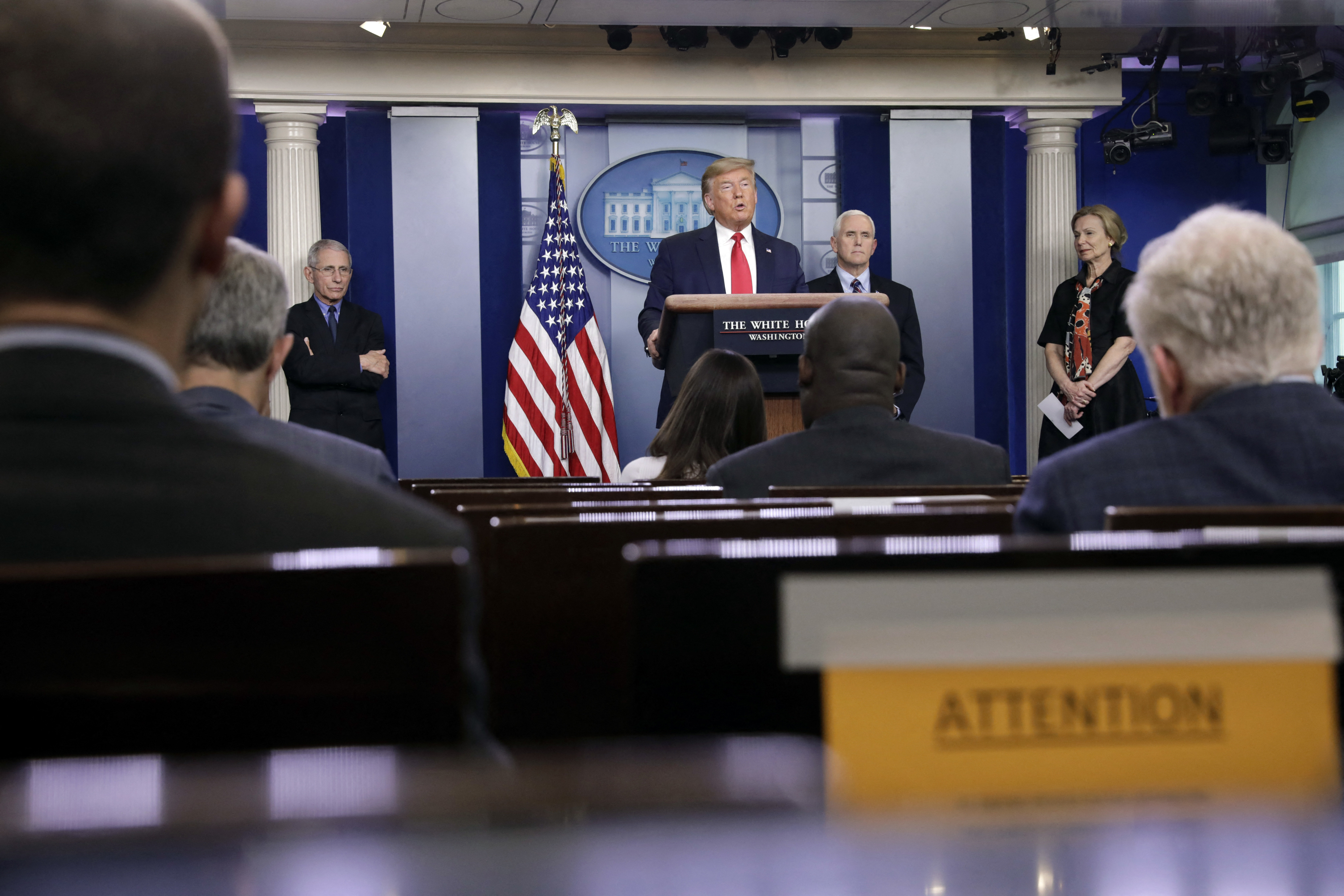 U.S. President Donald Trump speaks during a press briefing on the Coronavirus COVID-19 pandemic with members of the Coronavirus Task Force at the White House in Washington on March 26, 2020. Photo by Yuri Gripas/ABACAPRESS.COM