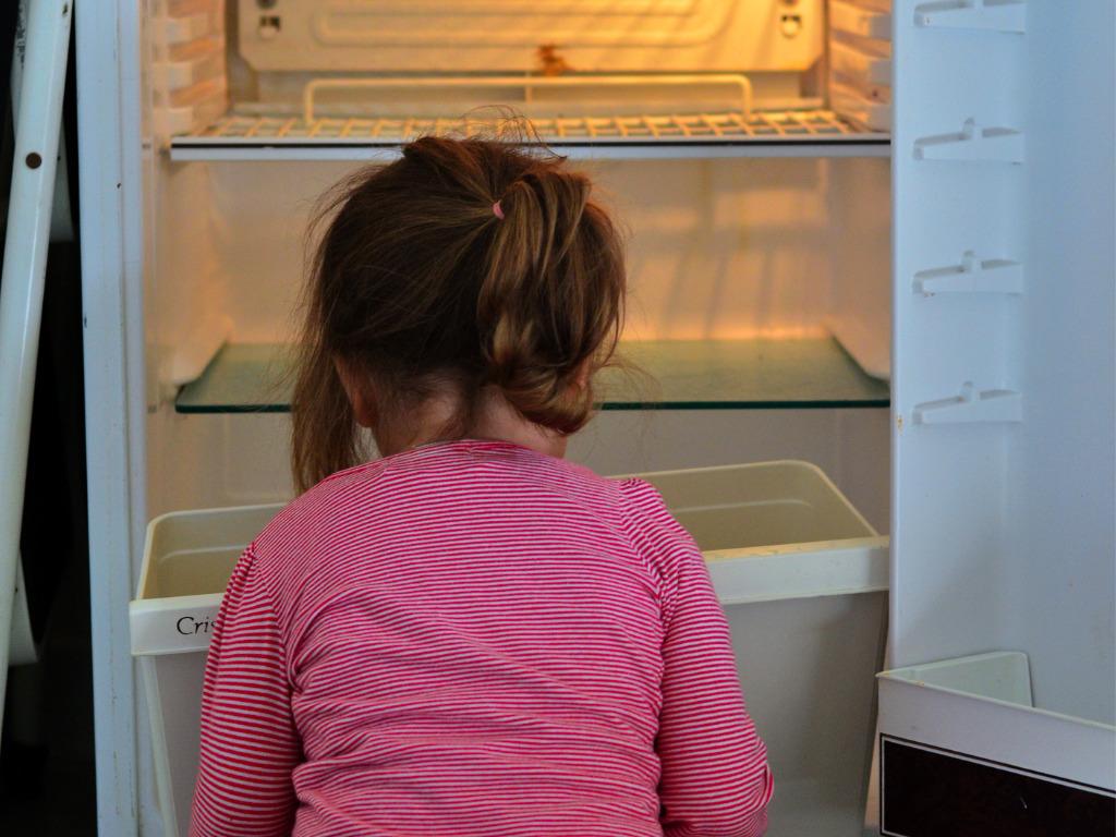 little girl looking through empty fridge