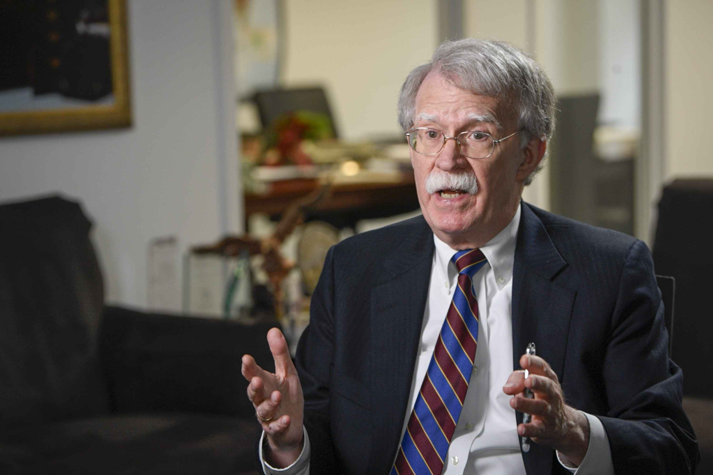 June 18, 2020; Washington, DC, U.S.A; Ambassador John Bolton sits for an interview with USA TODAY's Washington, DC bureau chief Susan Page in advance of the release of his book, 'In the Room Where It Happened.' Mandatory Credit: Jasper Colt-USA TODAY