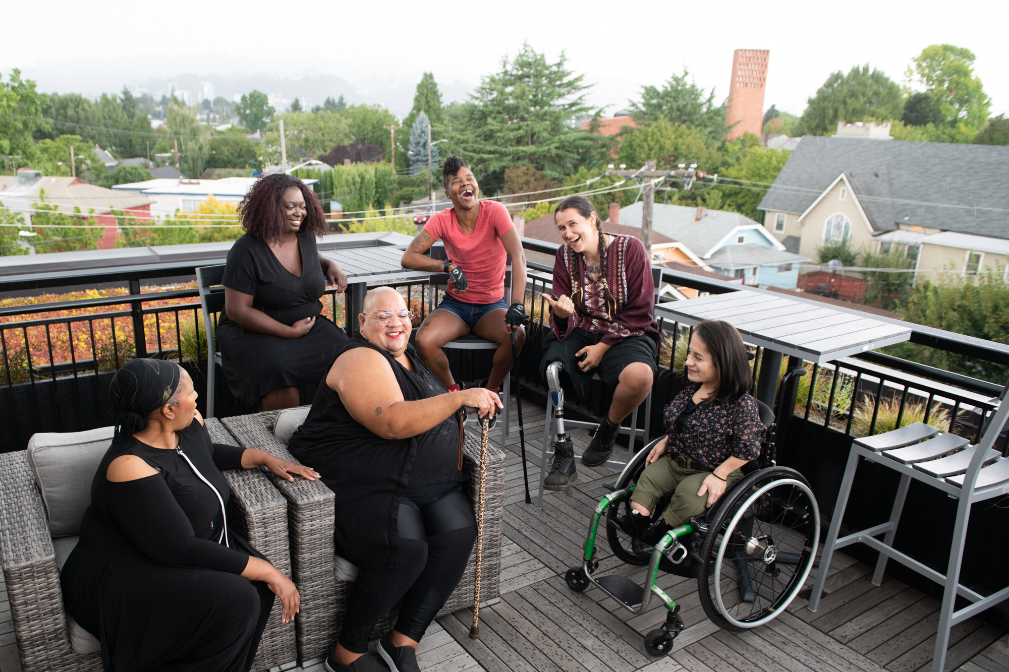 a groups of friends celebrating their disabilities