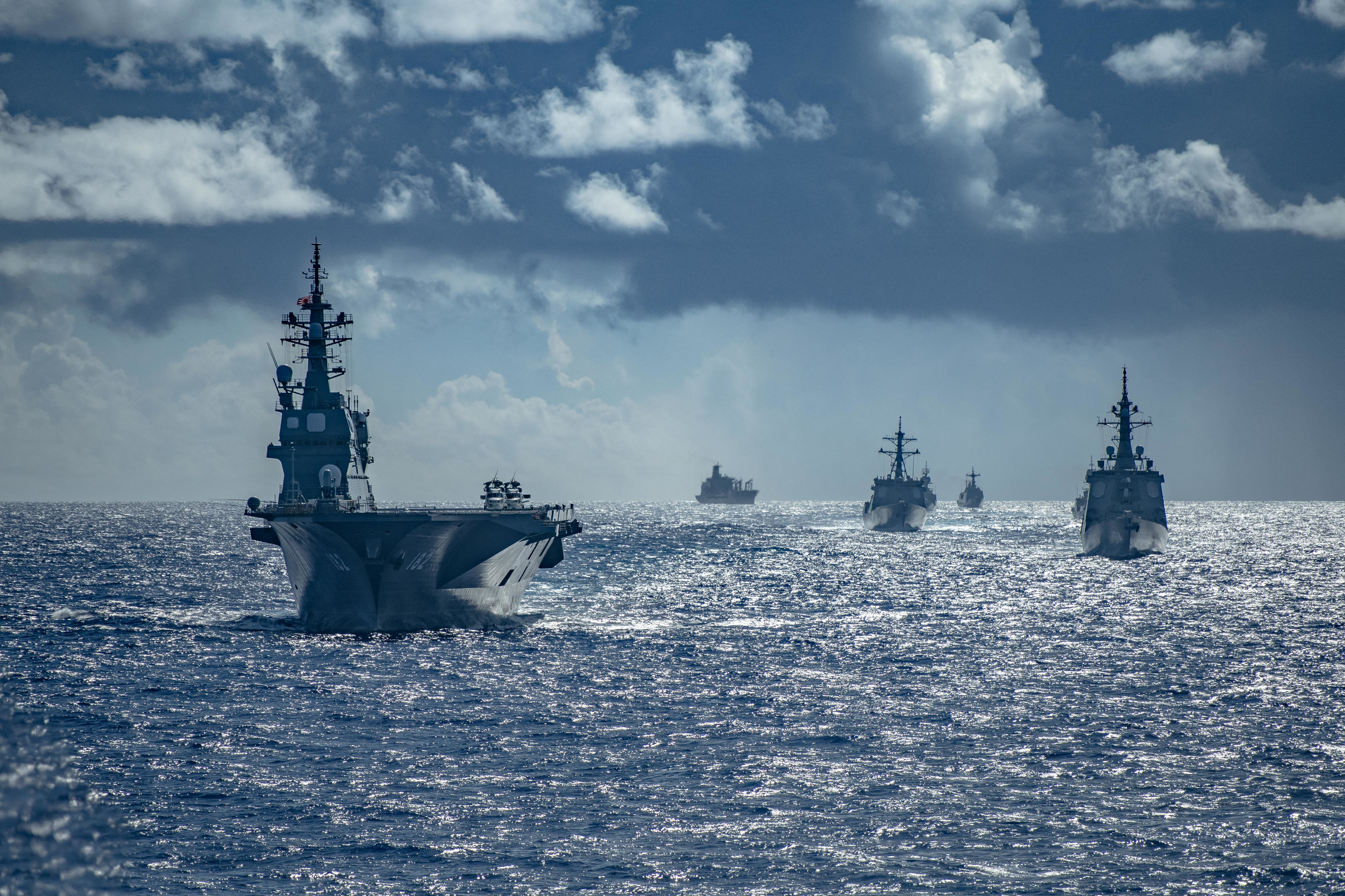 Hand out photo dated September 11, 2020 of Royal Australian Navy, Republic of Korea Navy, Japan Maritime Self-Defense Force, and United States Navy warships sail in formation during the Pacific Vanguard 2020 exercise. Pacific Vanguard serves as an opportunity to exercise and improve multinational interoperability at all levels; to improve tactical proficiency; and to adapt to ever changing regional challenges. Arleigh Burke-class guided-missile destroyer USS Barry (DDG 52) is underway conducting operations in support of security and stability in the Indo-Pacific while assigned to Destroyer Squadron (DESRON) 15, the Navy's largest forward-deployed DESRON and the U.S. 7th Fleet's principal surface force. Photo by Lieutenant Junior Grade Samuel Hardgrove/US Navy via ABACAPRESS.COM
