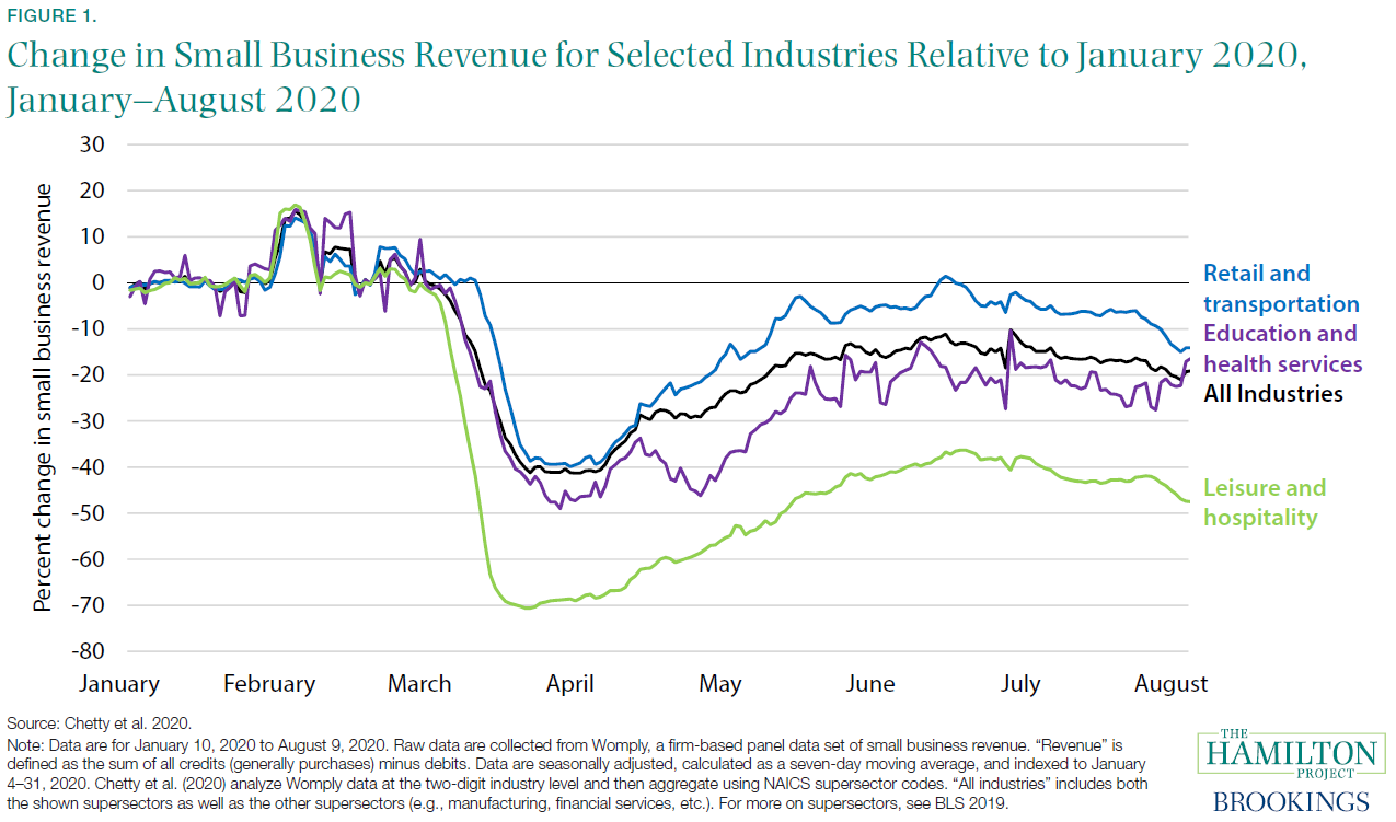 Change in Small Business Revenue for Selected Industried Relative to January 2020, January–August 2020