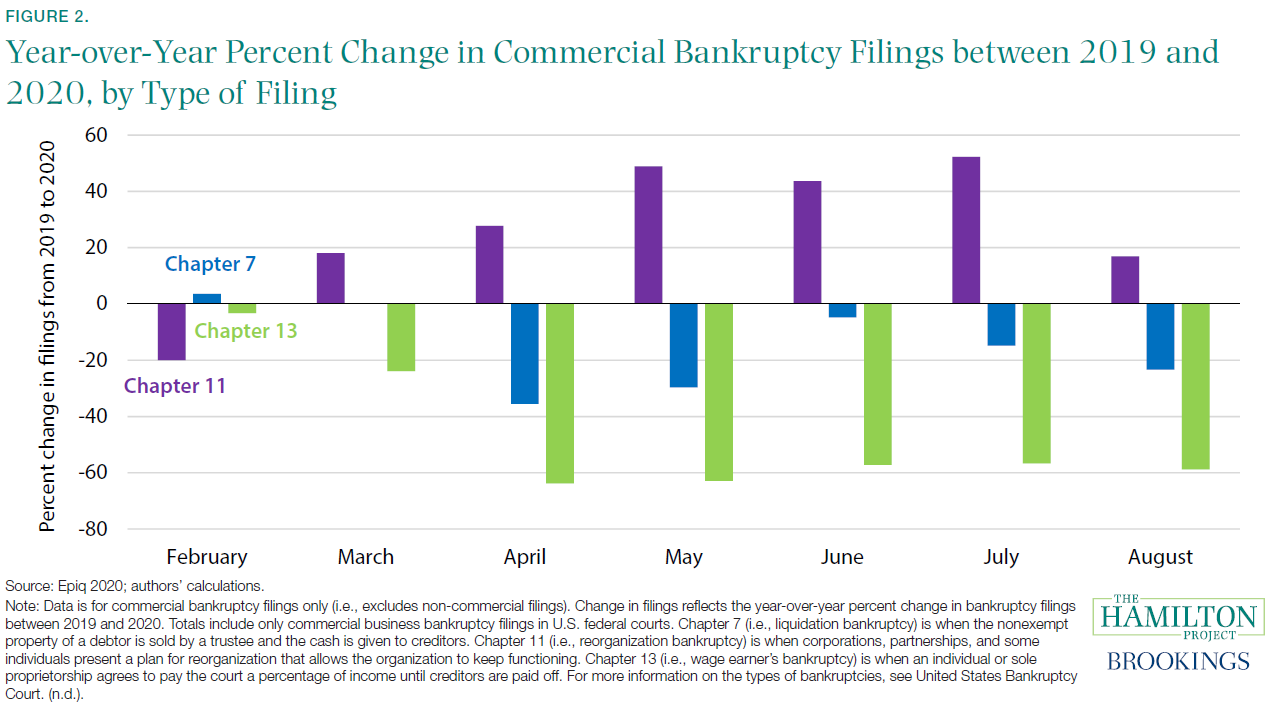 Year-over-Year Percent Change in Commercial Bankruptcy Filings between 2019 and 2020, by Type of Filing