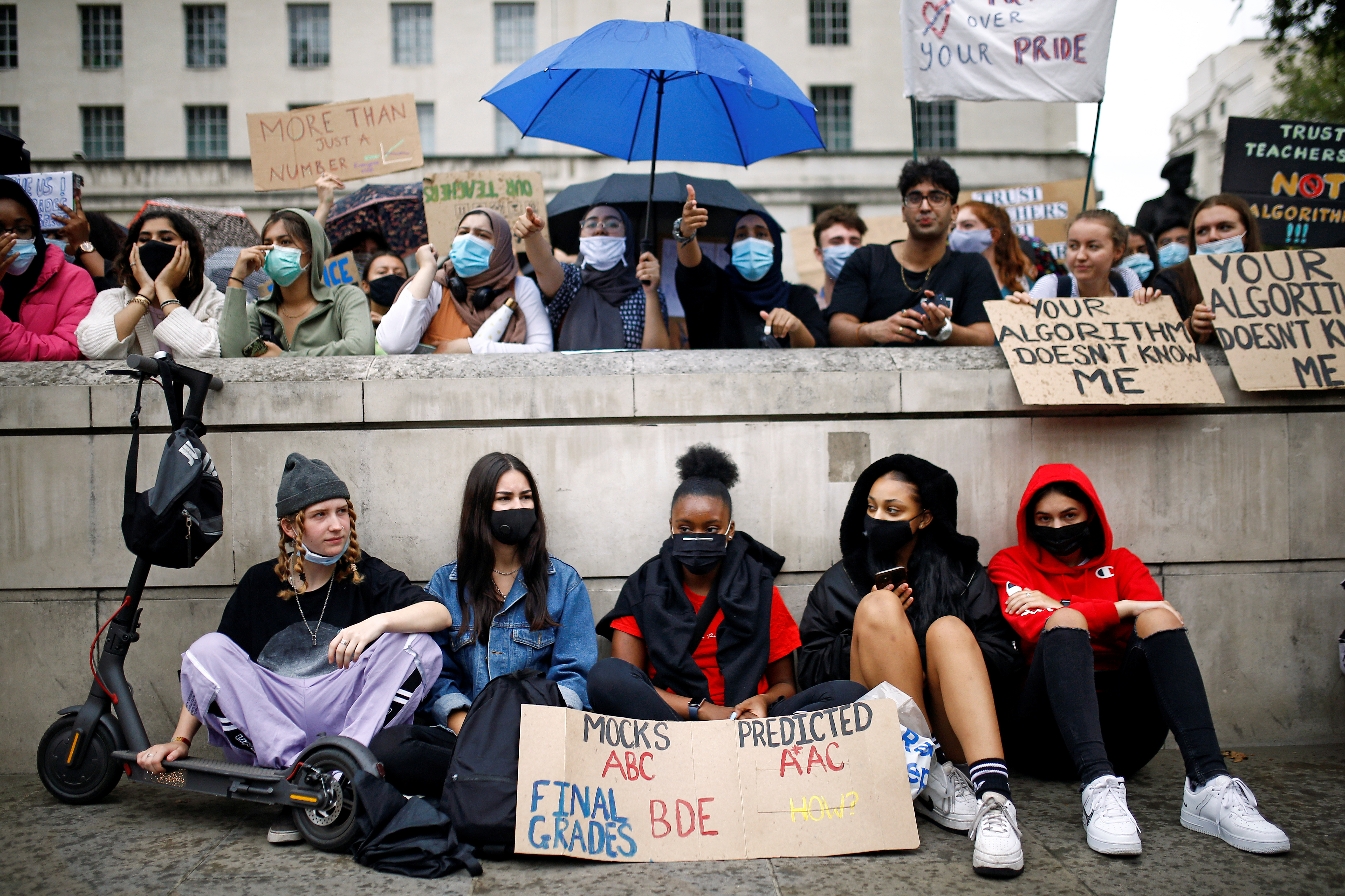 A level students protest opposite Downing Street, amid the outbreak of the coronavirus disease (COVID-19), in London, Britain, August 16, 2020. REUTERS/Henry Nicholls