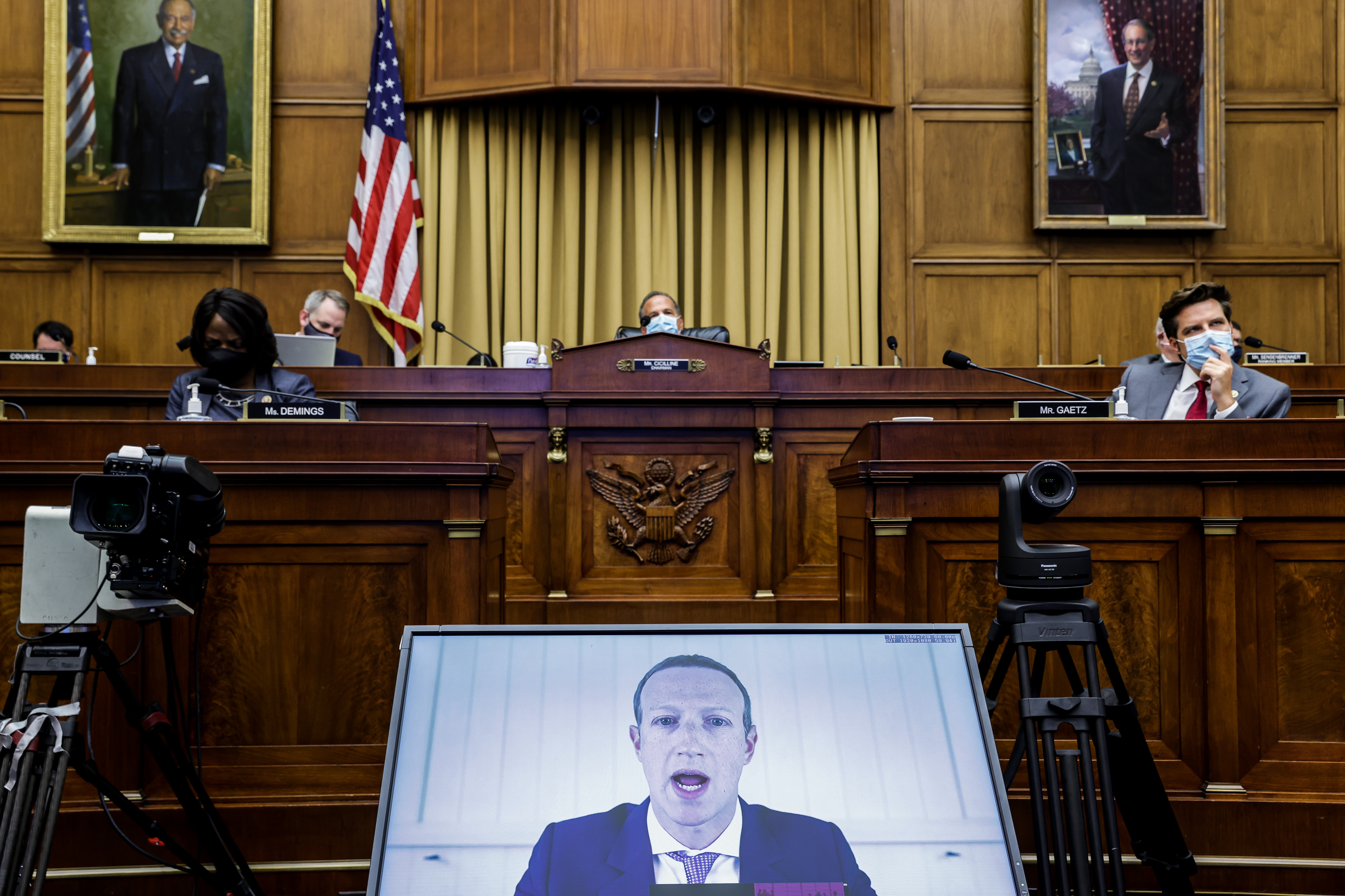 "Facebook CEO Mark Zuckerberg speaks via video conference during an Antitrust, Commercial and Administrative Law Subcommittee hearing, on Capitol Hill, in Washington, Wednesday, July 29, 2020, on ""Online platforms and market power. Examining the dominance of Amazon, Facebook, Google and Apple"" No Use UK. No Use Germany."