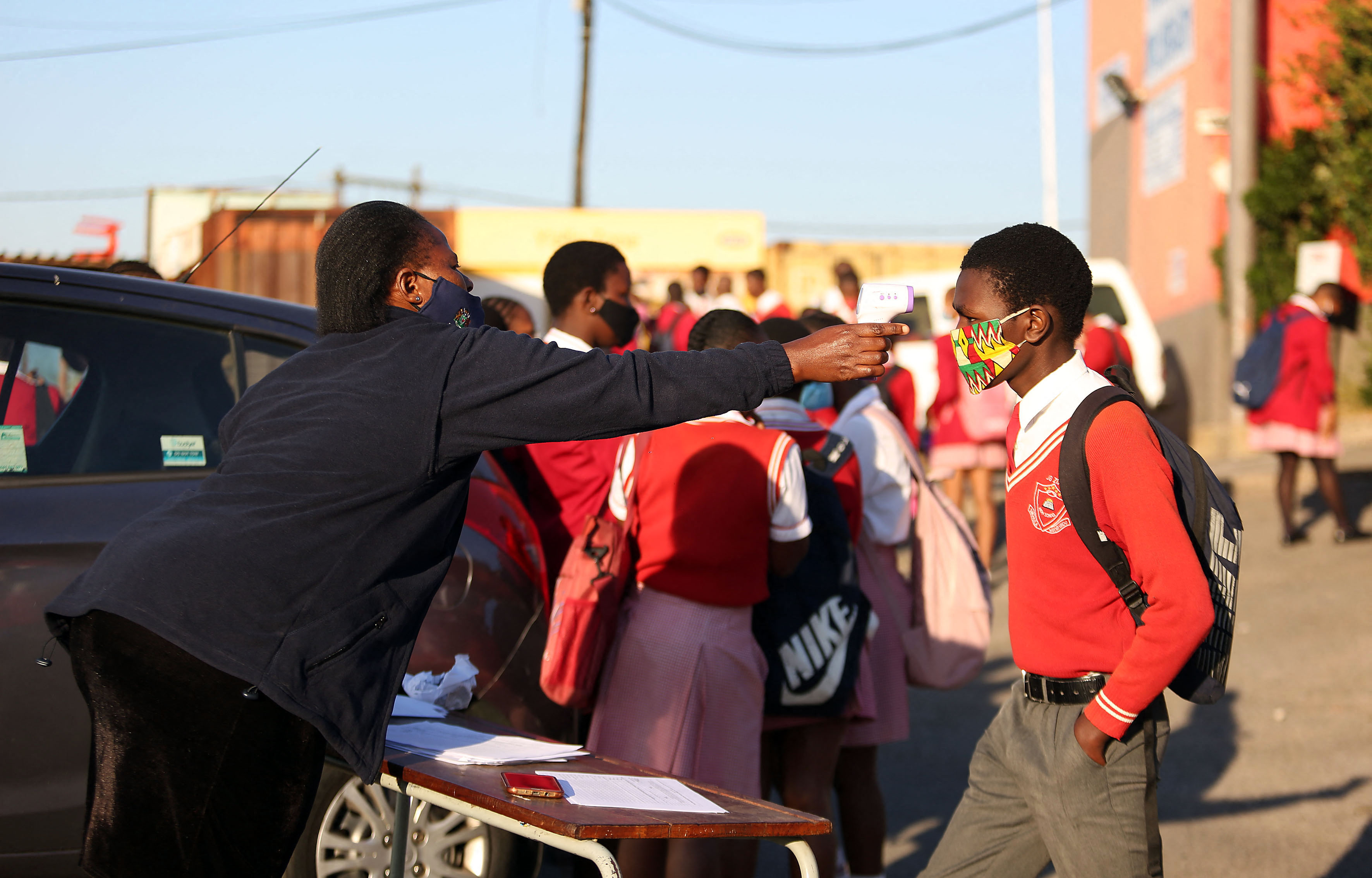 SOUTH AFRICA - Durban - 08 July 2020 - Grade 11 pupils from J.G Zuma High School in Kwamashu, Durban queue early in the morning joining other pupils over 2 million from grade R, 6 and 11 pupils as they return to the classrooms after almost four months at home.Picture: Motshwari Mofokeng/African News Agency/RealTime Images/ABACAPRESS.COMNo Use South Africa out.