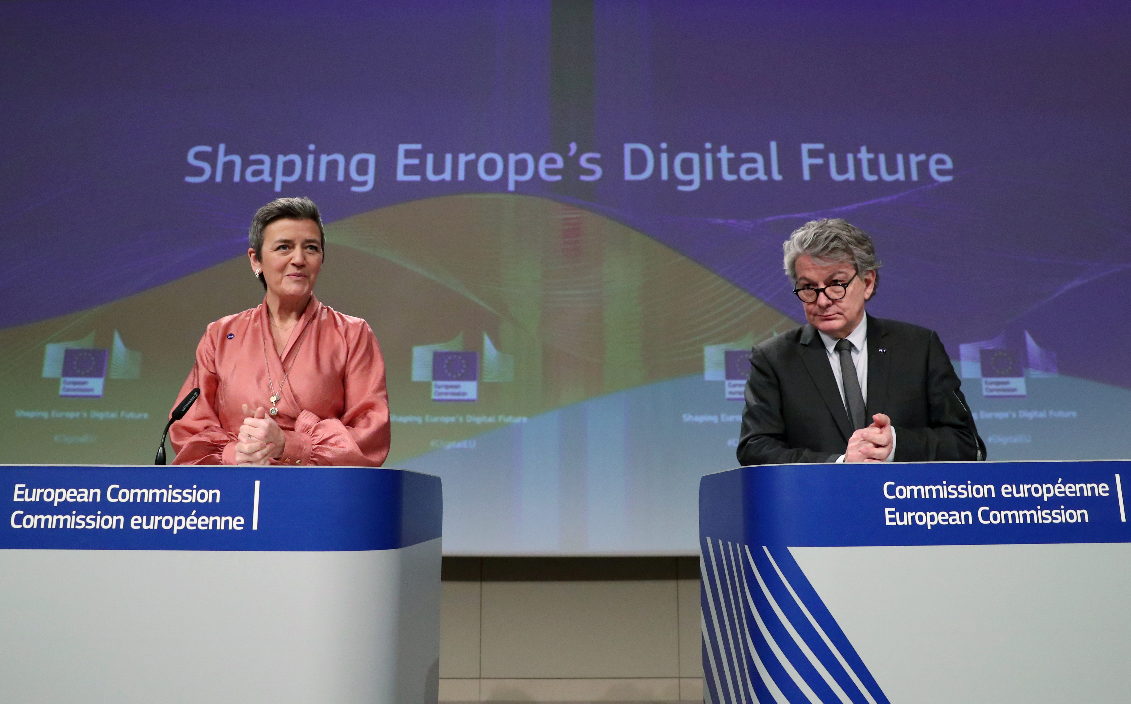 European Commissioner for a Europe Fit for the Digital Age Margrethe Vestager and European Internal Market Commissioner Thierry Breton attend the presentation of the European Commission's data/digital strategy in Brussels, Belgium February 19, 2020.  REUTERS/Yves Herman