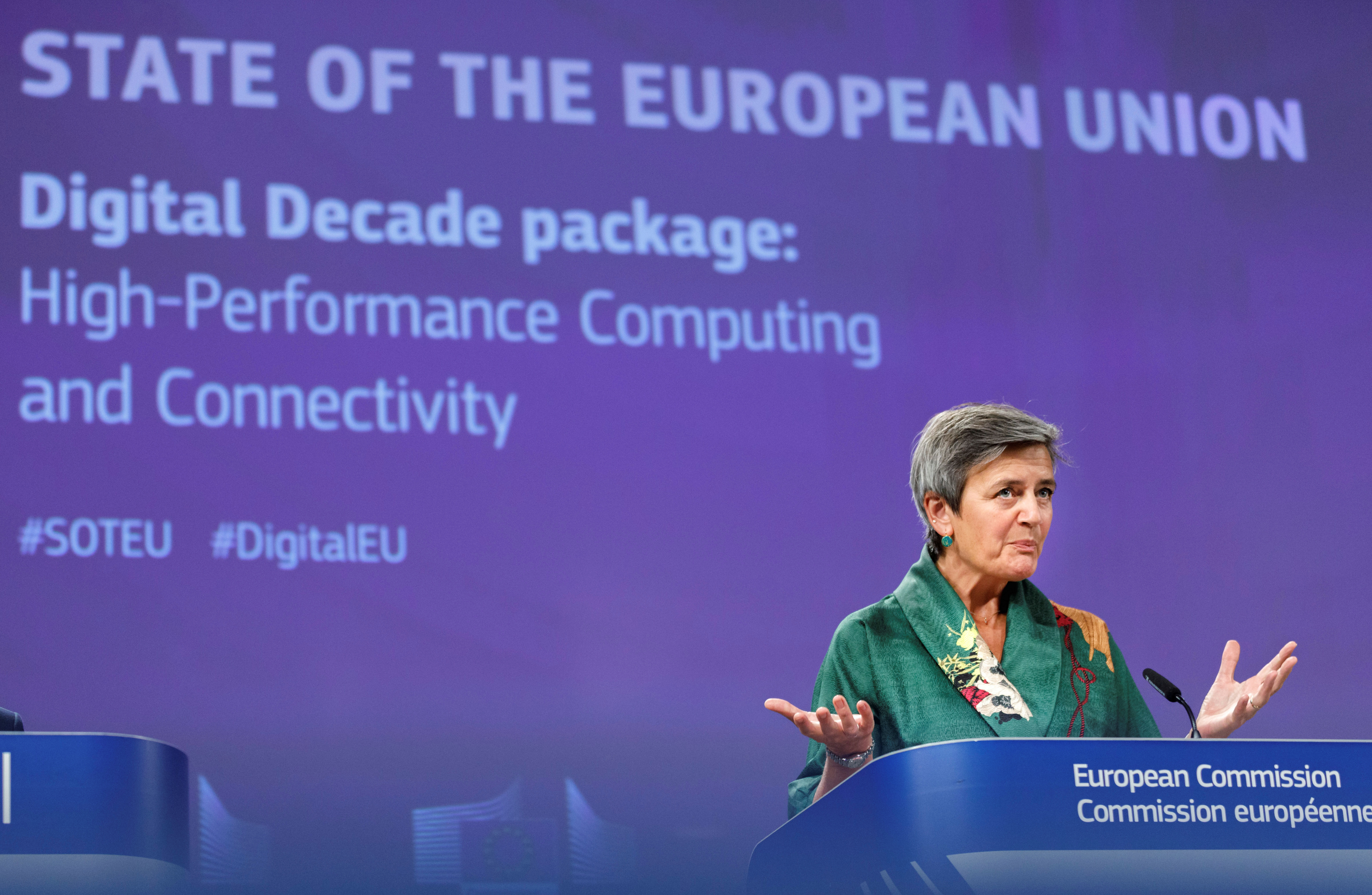 European Commission vice-president Margrethe Vestager speaks during a news conference on regulation on high performance computing and connectivity, at EU headquarters in Brussels, Belgium September 18, 2020. Olivier Matthys/Pool via REUTERS