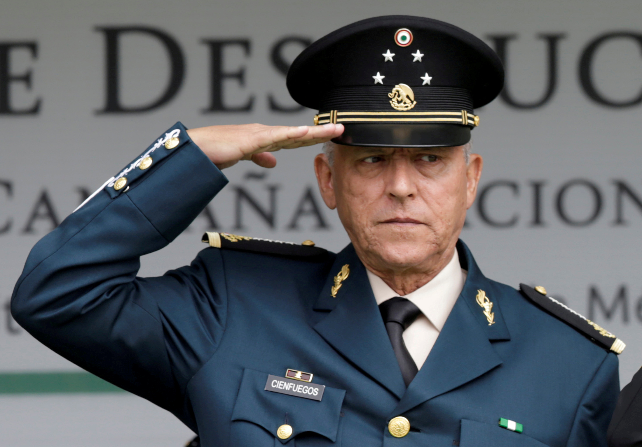 FILE PHOTO: Mexico's defense Minister General Salvador Cienfuegos attends an event at a military zone in Mexico City, Mexico September 2, 2016.  REUTERS/Henry Romero/File Photo/File Photo