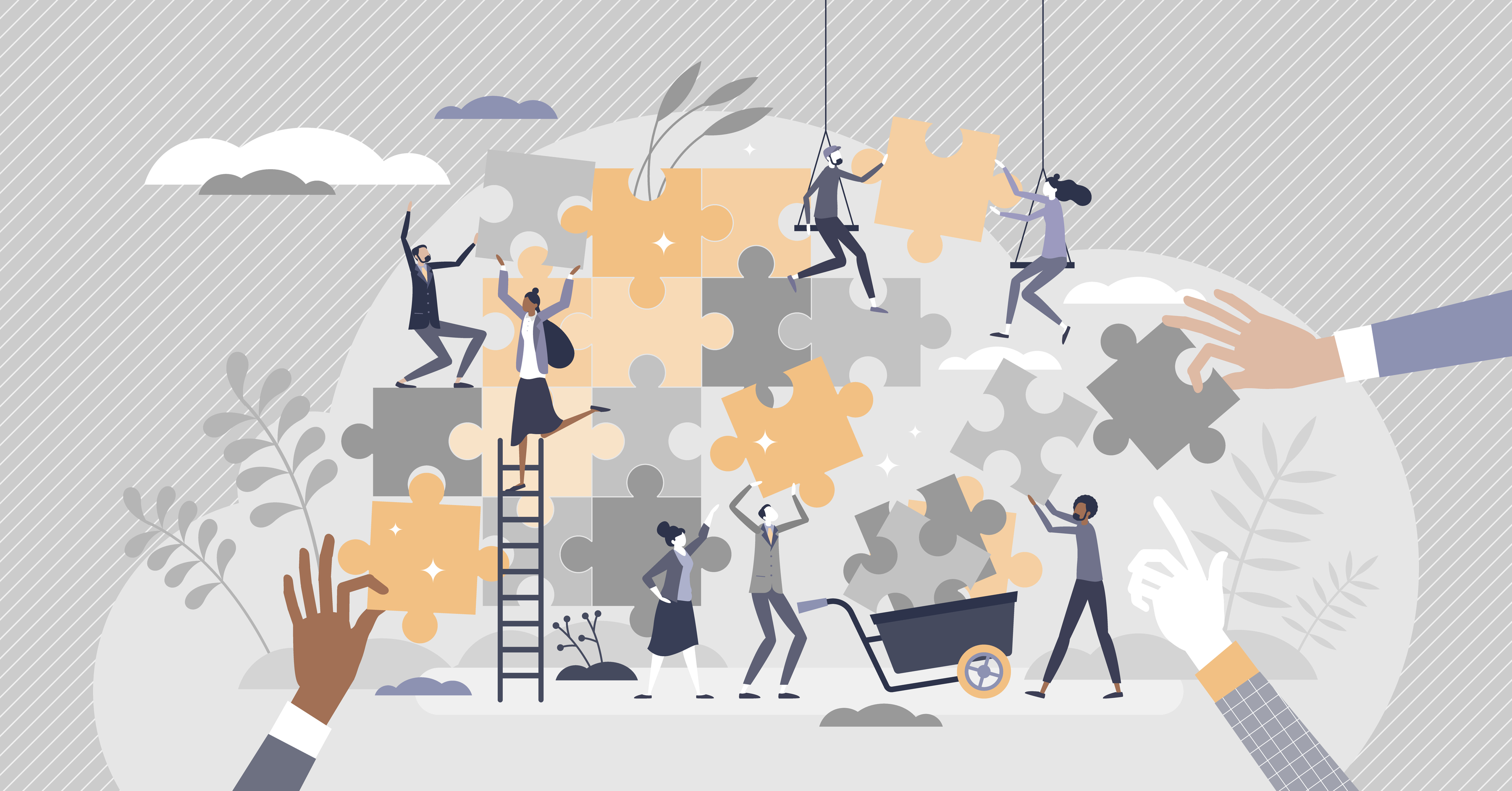 Illustration conveying teamwork