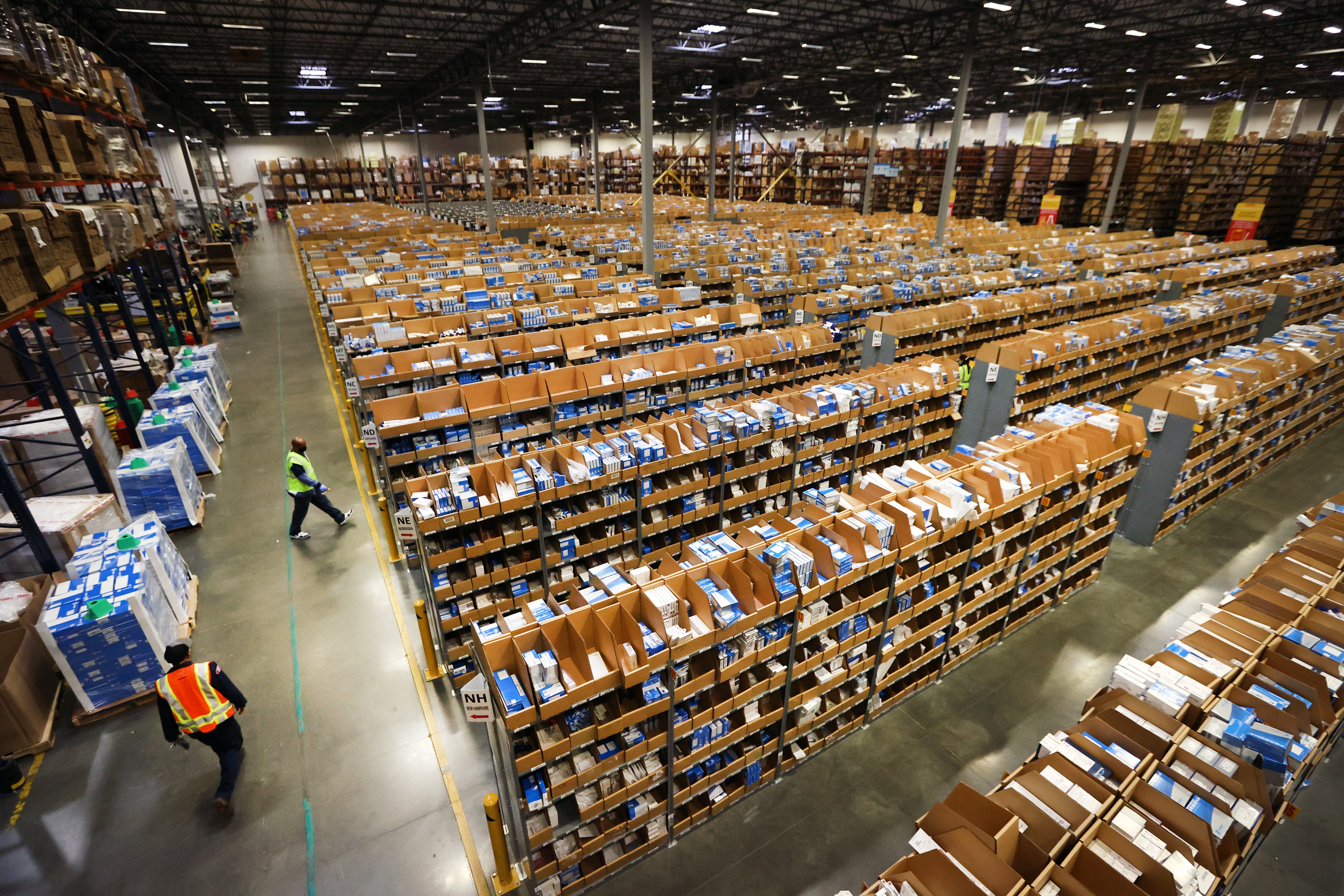 Tens of thousands of medical supply packages are sorted daily for regional and international shipping from the DHL Supply Chain facility in Southaven Monday, Oct. 5, 2020.Jrca5015