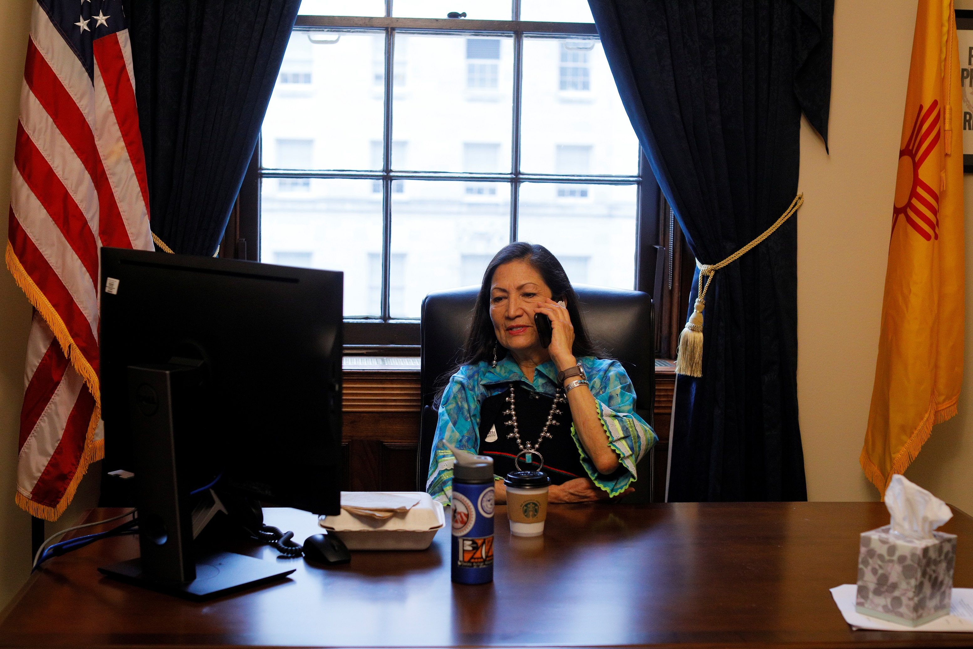 Deb Haaland works in her office at the U.S. Capitol before being sworn in as one of the two first Native American women in the U.S. House of Representatives in Washington, U.S., January 3, 2019. REUTERS/Brian Snyder