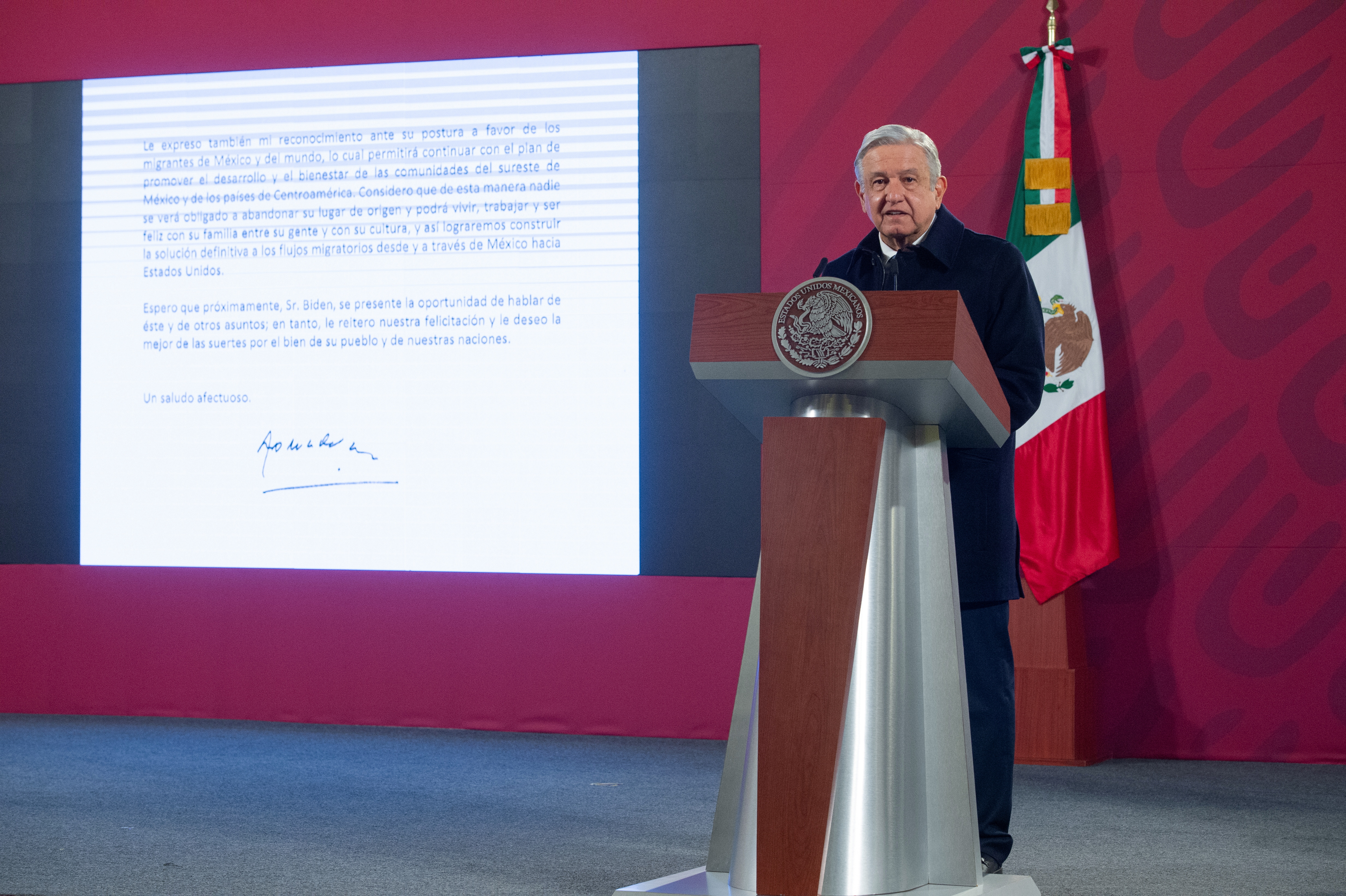 Mexico's President Andres Manuel Lopez Obrador speaks as a screen displays the letter he sent to U.S. President-elect Joe Biden during a news conference at the National Palace, in Mexico City, Mexico December 15, 2020. Mexico's Presidency/Handout via REUTERS ATTENTION EDITORS - THIS IMAGE HAS BEEN SUPPLIED BY A THIRD PARTY. NO RESALES. NO ARCHIVES
