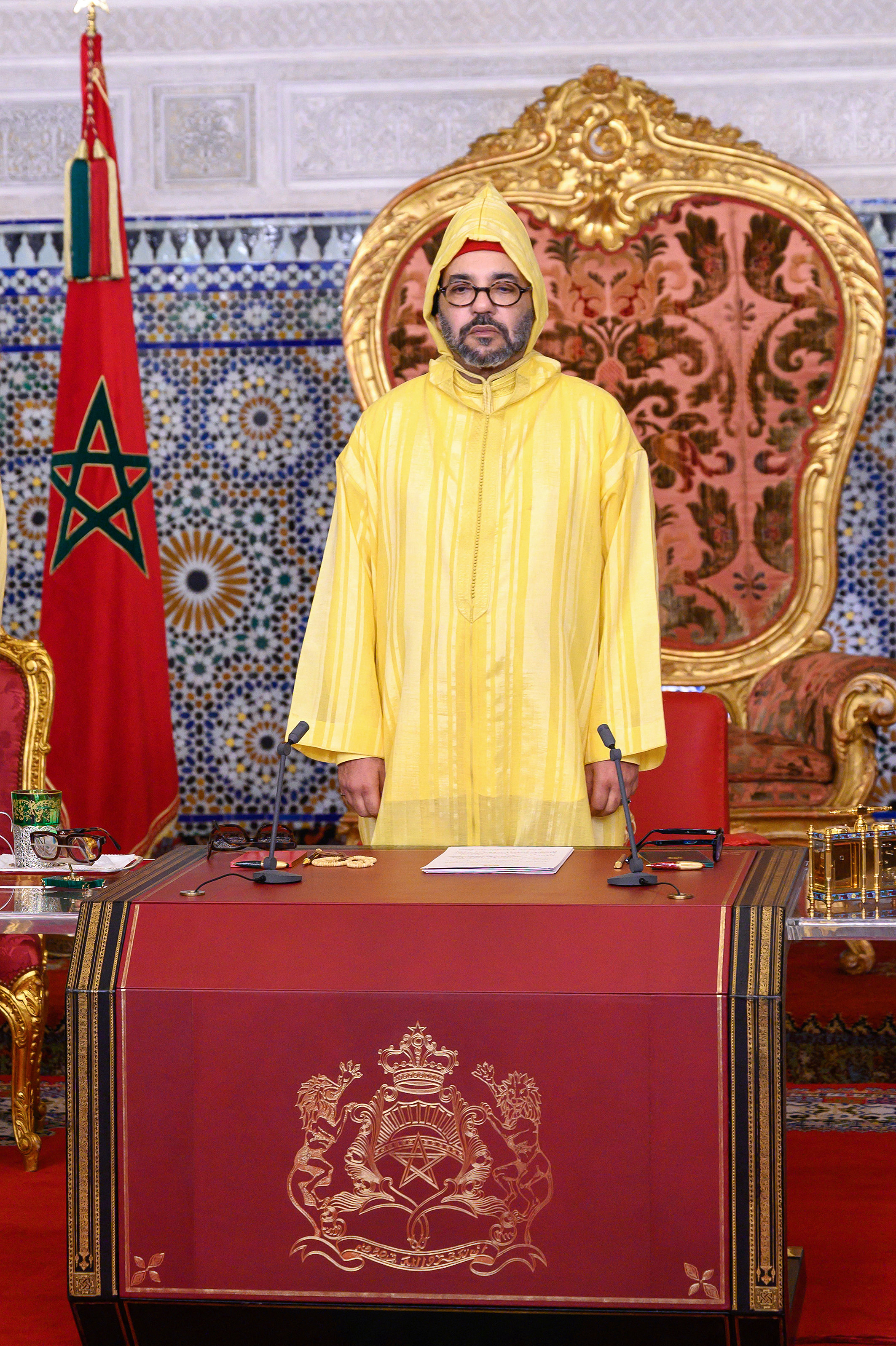 King Mohammed VI of Morocco deliveres a speech on occasion of the opening of the parliament, on October 09, 2020 in Rabat, Morocco. Photo via Azzize boukallouch/ABACAPRESS.COM
