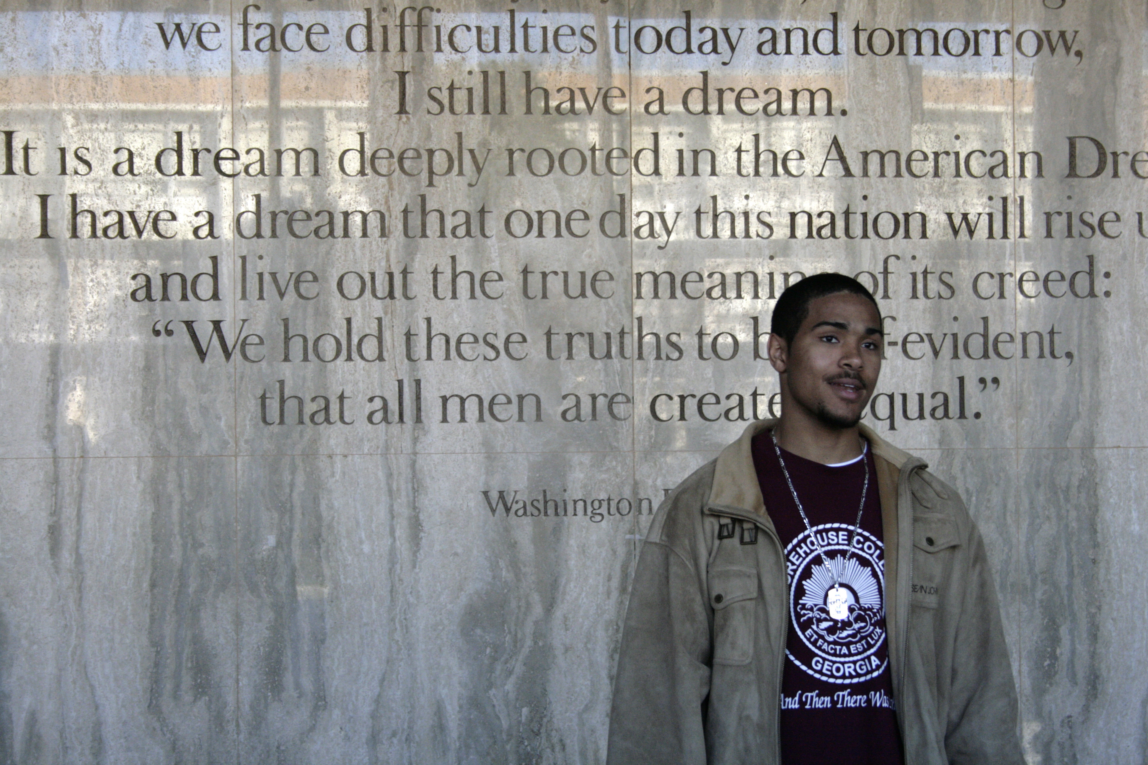 "Thomas Coverson, 19, a freshman at Morehouse College in Atlanta, Georgia, explains his passion for the history of the civil rights movement in front of Martin Luther King Jr.'s famous ""I Have a Dream"" speech"" at Martin Luther King Jr. International Chapel at Morehouse College in Atlanta, Georgia, January 8, 2009. Barack Obama's election as the first black U.S. president has rekindled interest in the U.S. civil rights struggles of the 1950s and 1960s at a time of continuing wide disparities in income, education and health care between whites and minority groups. Picture taken January 8, 2009. REUTERS/Andrea Shalal-Esa (UNITED STATES)"