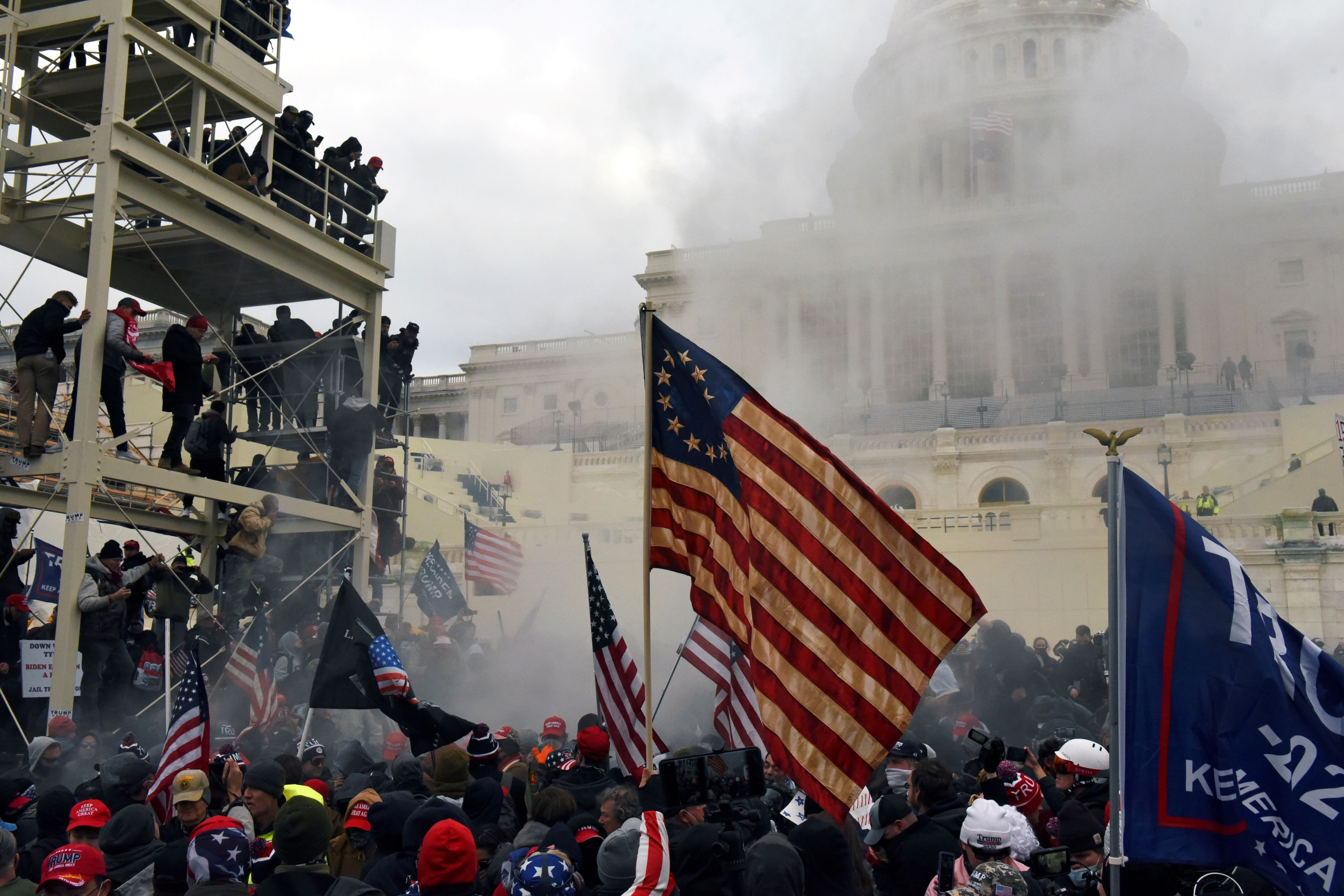 Tear gas at the Capitol on January 6, 2021