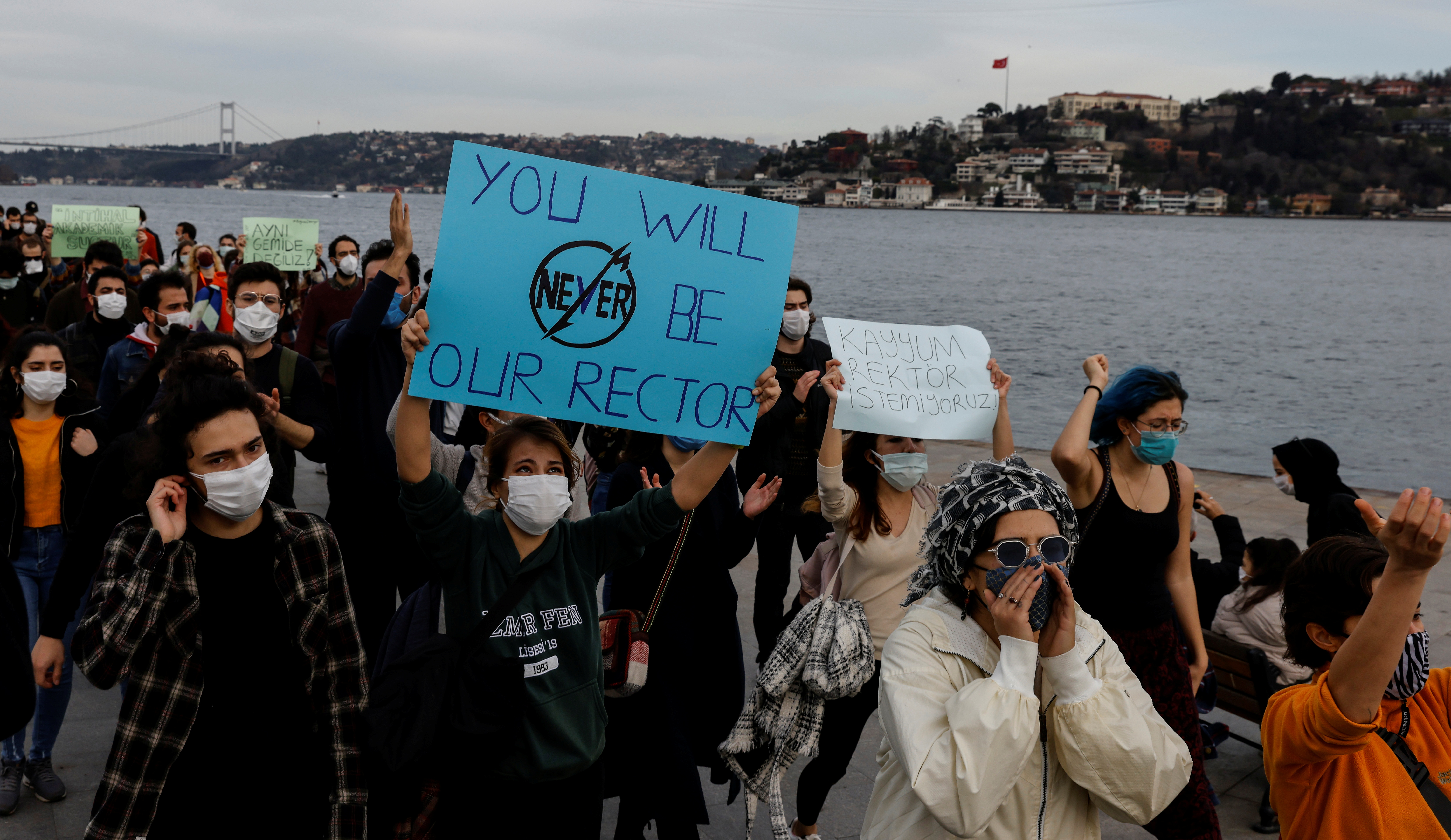 Students of Bogazici University protest against President Tayyip Erdogan's appointment of a new rector, in Istanbul, Turkey January 6, 2021. REUTERS/Umit Bektas