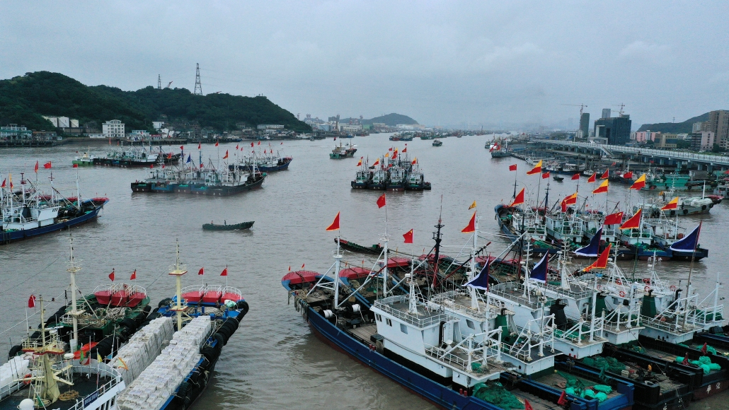 Various fishing boats arrayed at a harbor prepare for the new fishing season of 2020 which will start in two days, Zhoushan city, east China's Zhejiang province, 14 September 2020. fachaoshiNo Use China. No Use France.